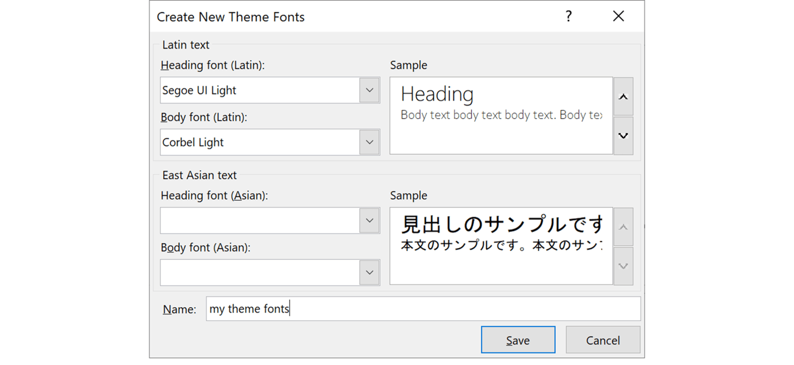 Screenshot of the Create New Theme Fonts pop up window in PowerPoint showing two languages