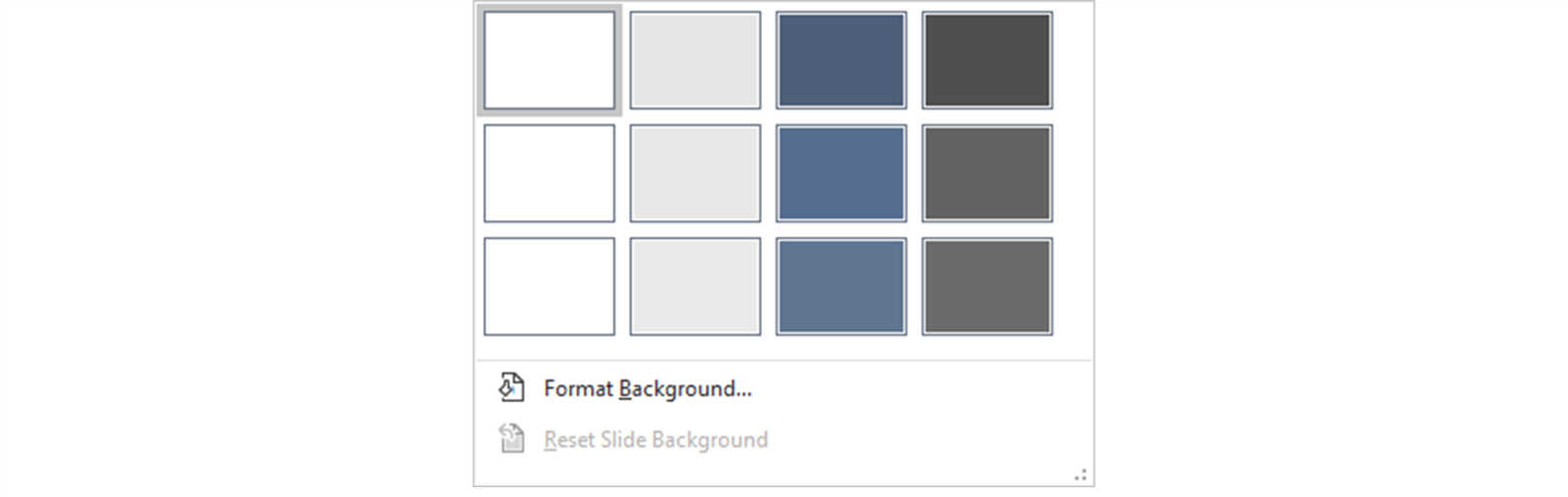 Screenshot showing the background style menu in PowerPoint