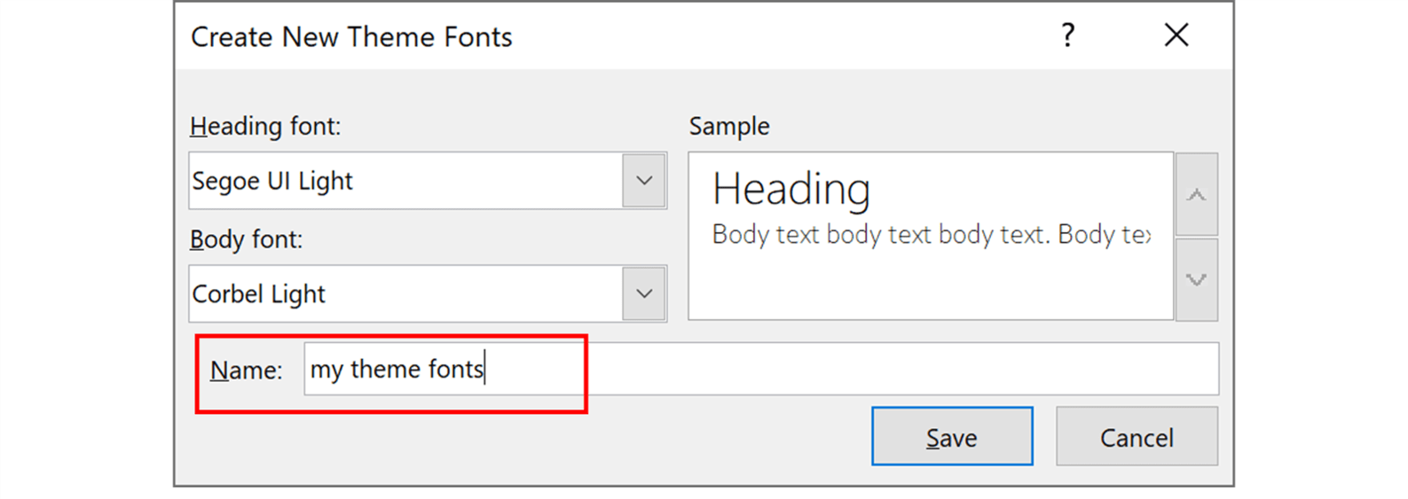 Screenshot showing the Create New theme Fonts pop up window in PowerPoint with the Name section highlighted