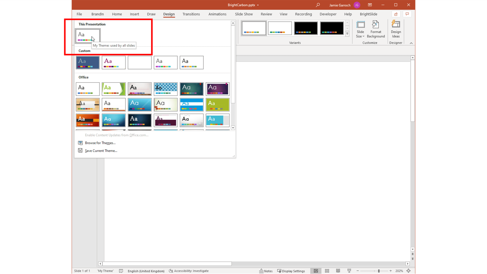 Screenshot showing where to locate your Office theme in PowerPoint