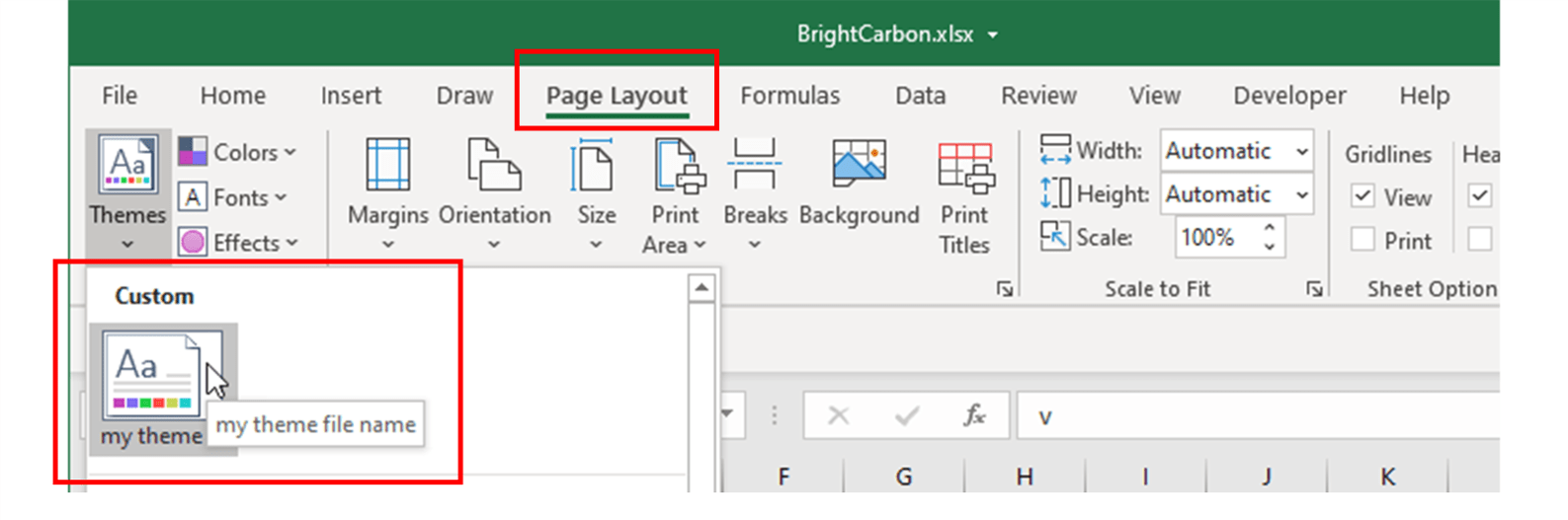 Screenshot showing where to locate a custom Office theme in Excel