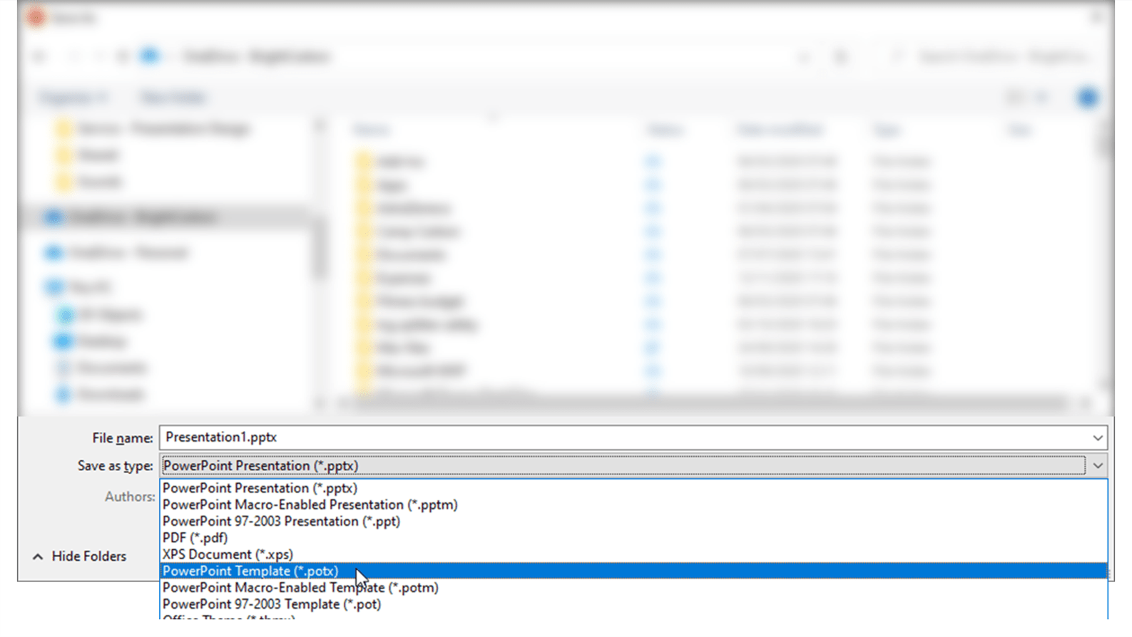 Screenshot showing a Save As File Explorer with the PowerPoint template file type highlighted