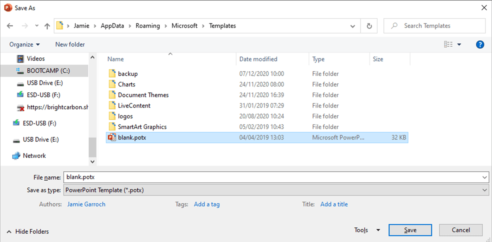 Screenshot showing PowerPoint templates in the File Explorer with the default Office theme blank.potx highlighted