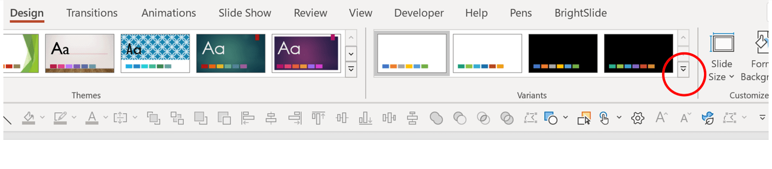 PowerPoint screenshot with circle around the dropdown arrow in the Design tab