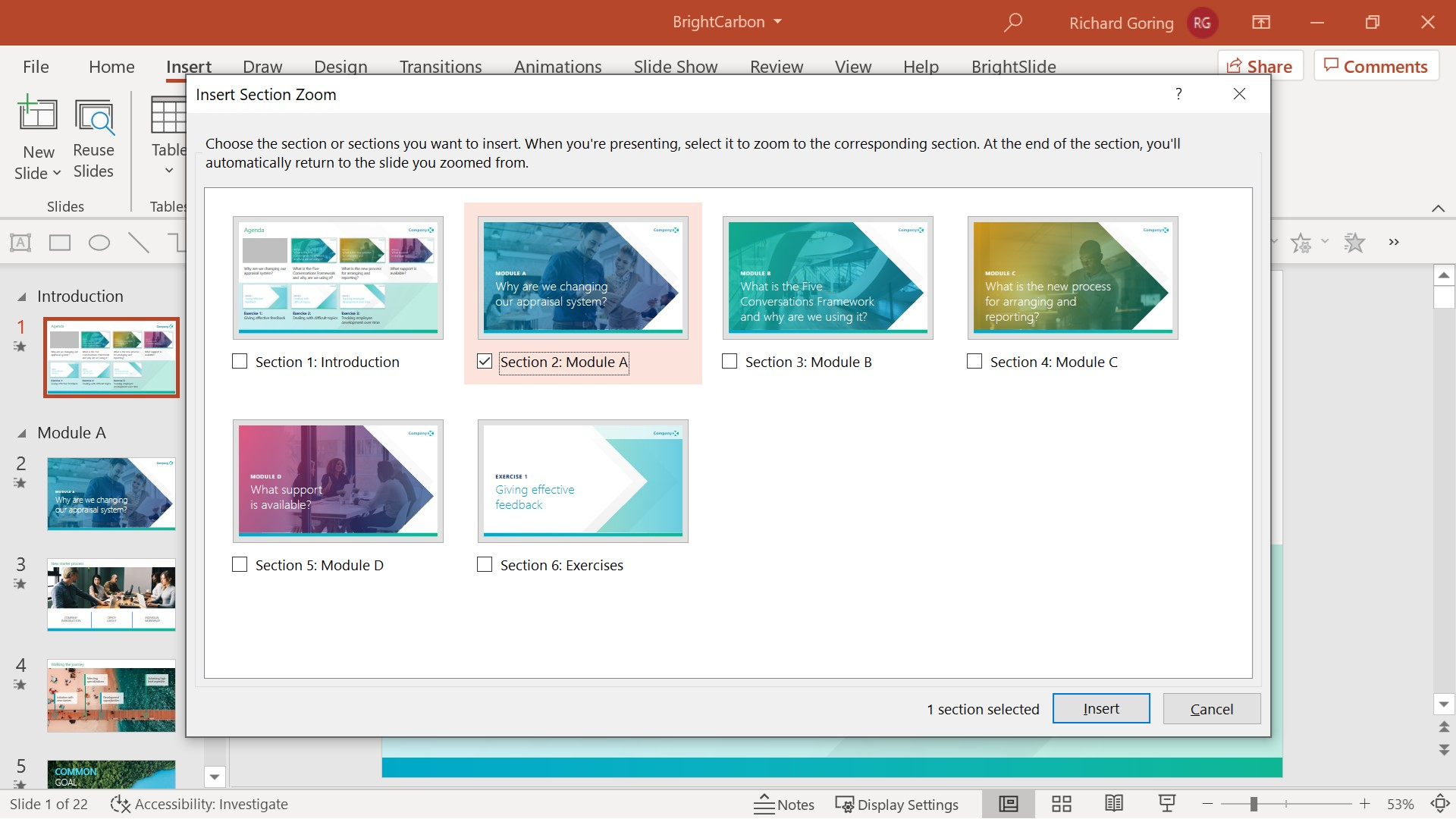 PowerPoint screenshot showing the Insert Section Zoom link pop up window.