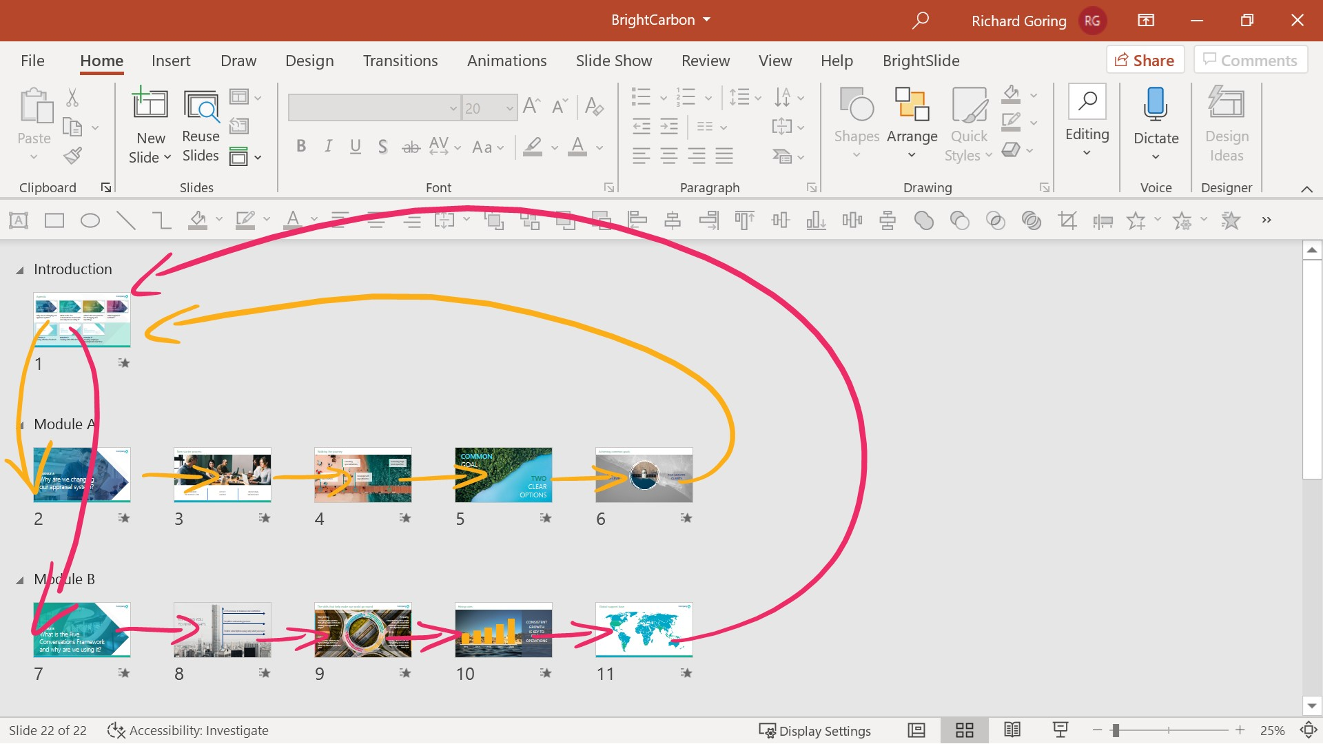 Annotated PowerPoint screenshot with arrows showing how PowerPoint Zoom links can create non-linear navigation