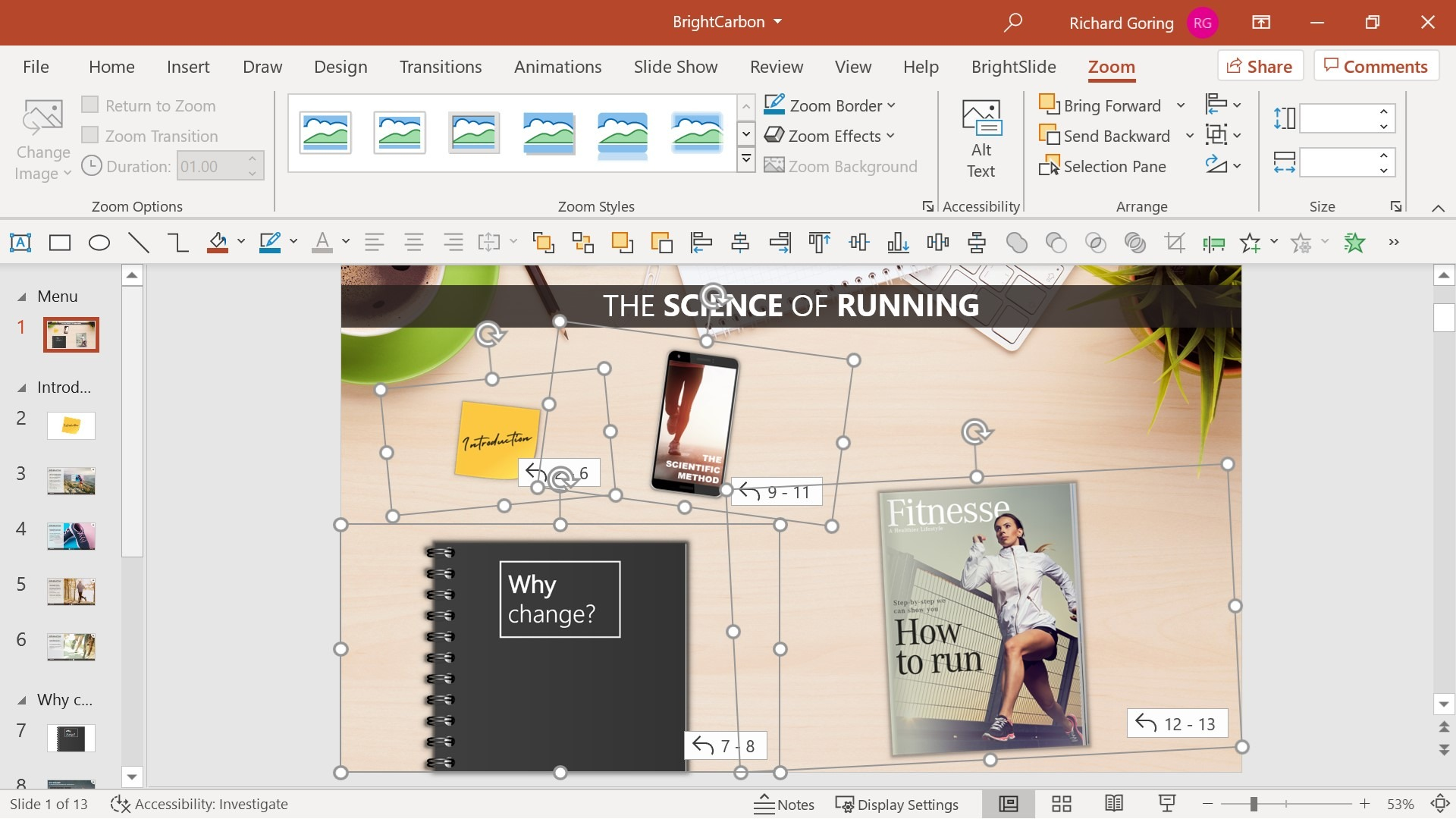 Screenshot showing PowerPoint Zoom links placed on a slide. The background of the slide is a desk and the Zoom links are designed to look like items on the desk: a magazine, a note book, a phone, and post it notes.