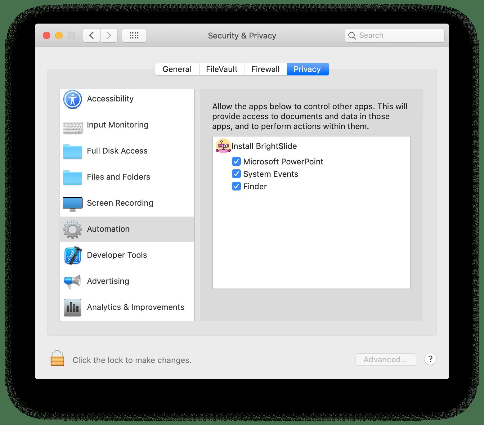 Screenshot of macOS Privacy