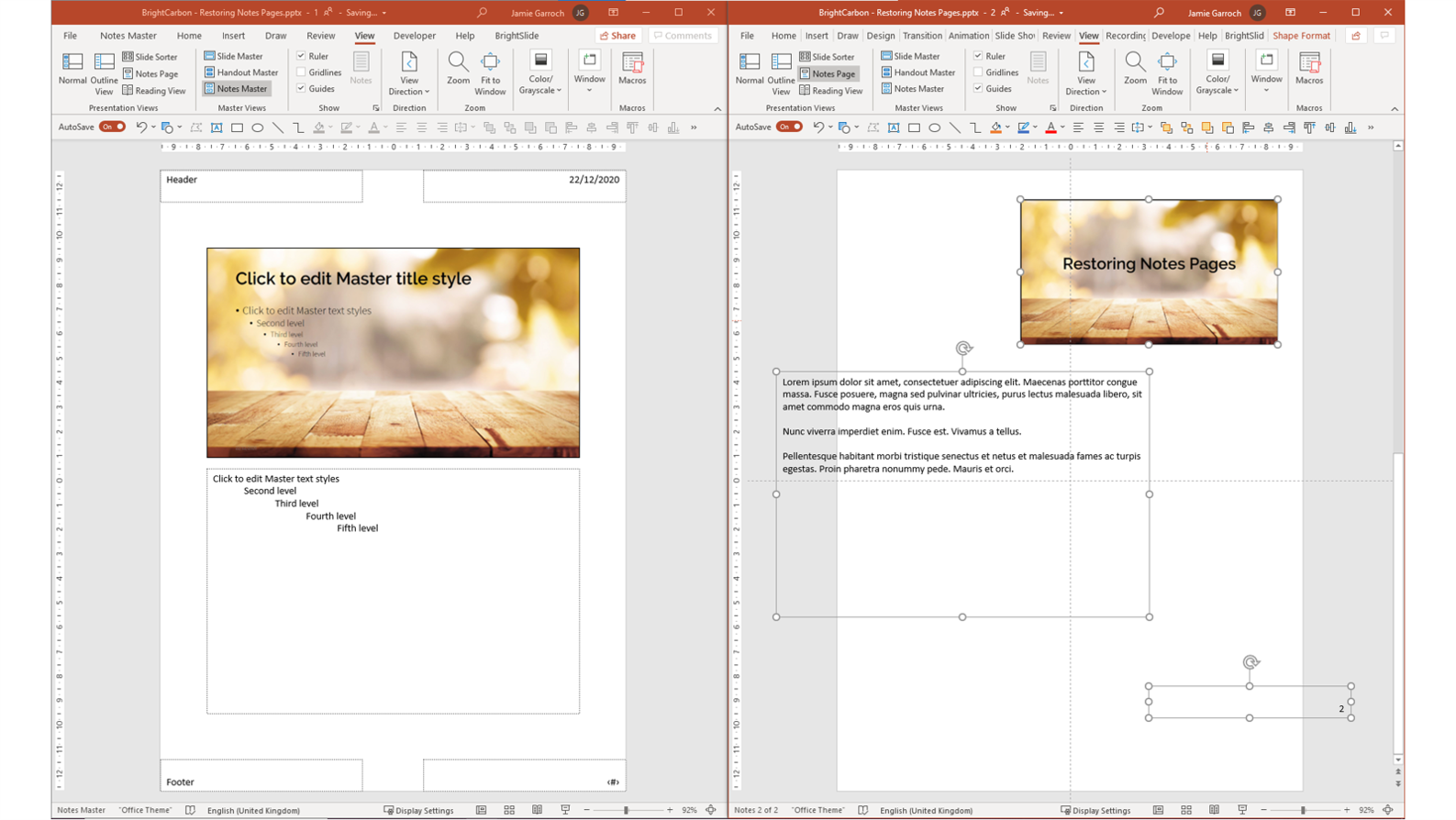Screenshot showing two PowerPoint windows. On the left is the Notes Pages Master and on the right is a Notes Page with the text box and slide number hanging off the slide