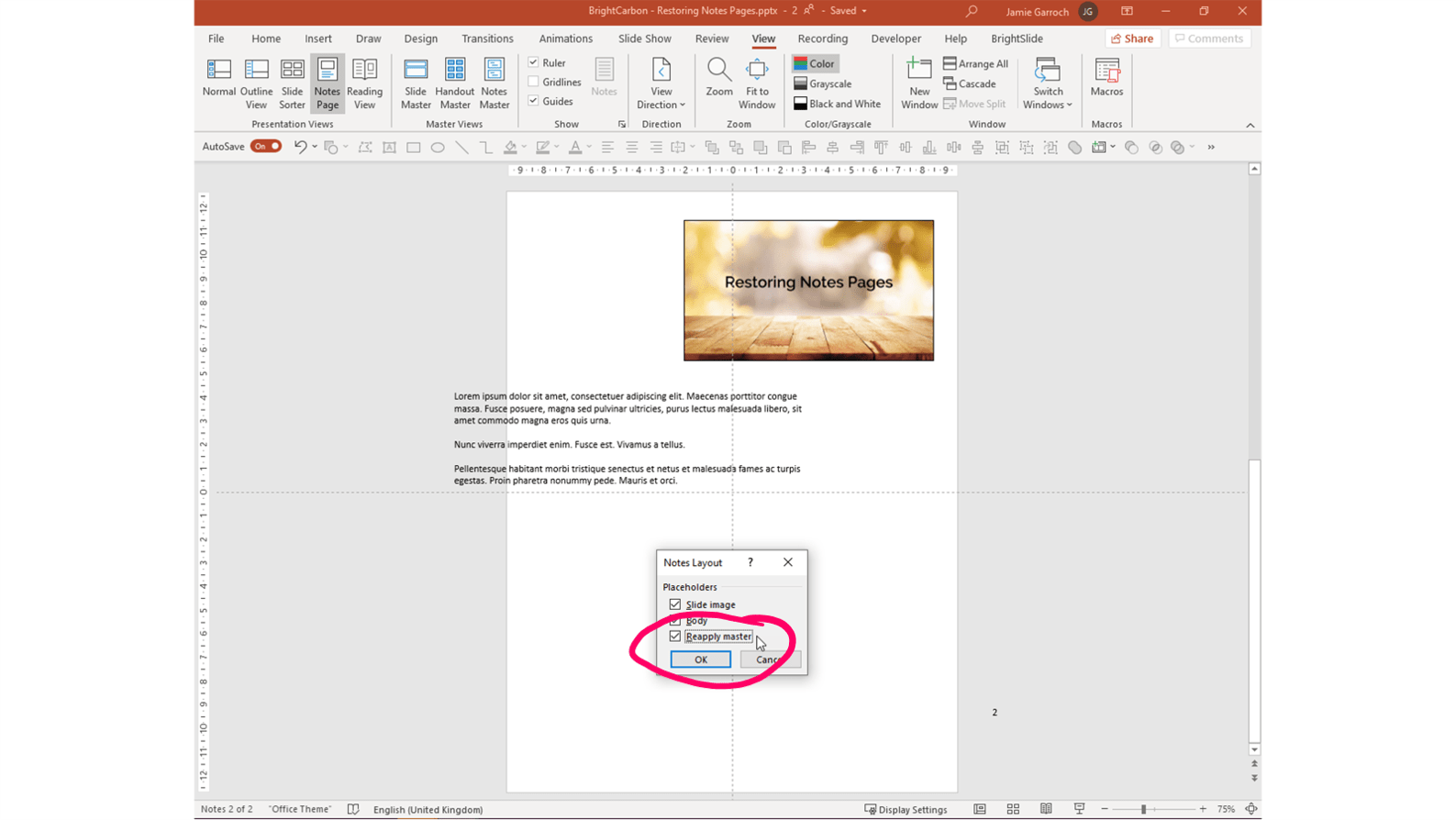 Screenshot of a PowerPoint Notes Page with the Notes Layout pop up window. Reapply master is selected.