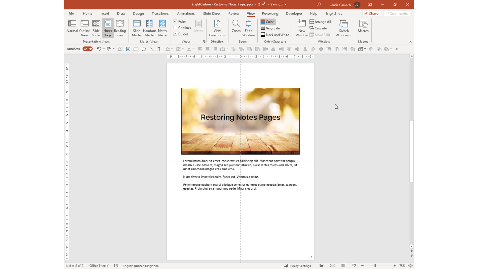 Screenshot showing a PowerPoint Notes Page with all the placeholders in the correct position.