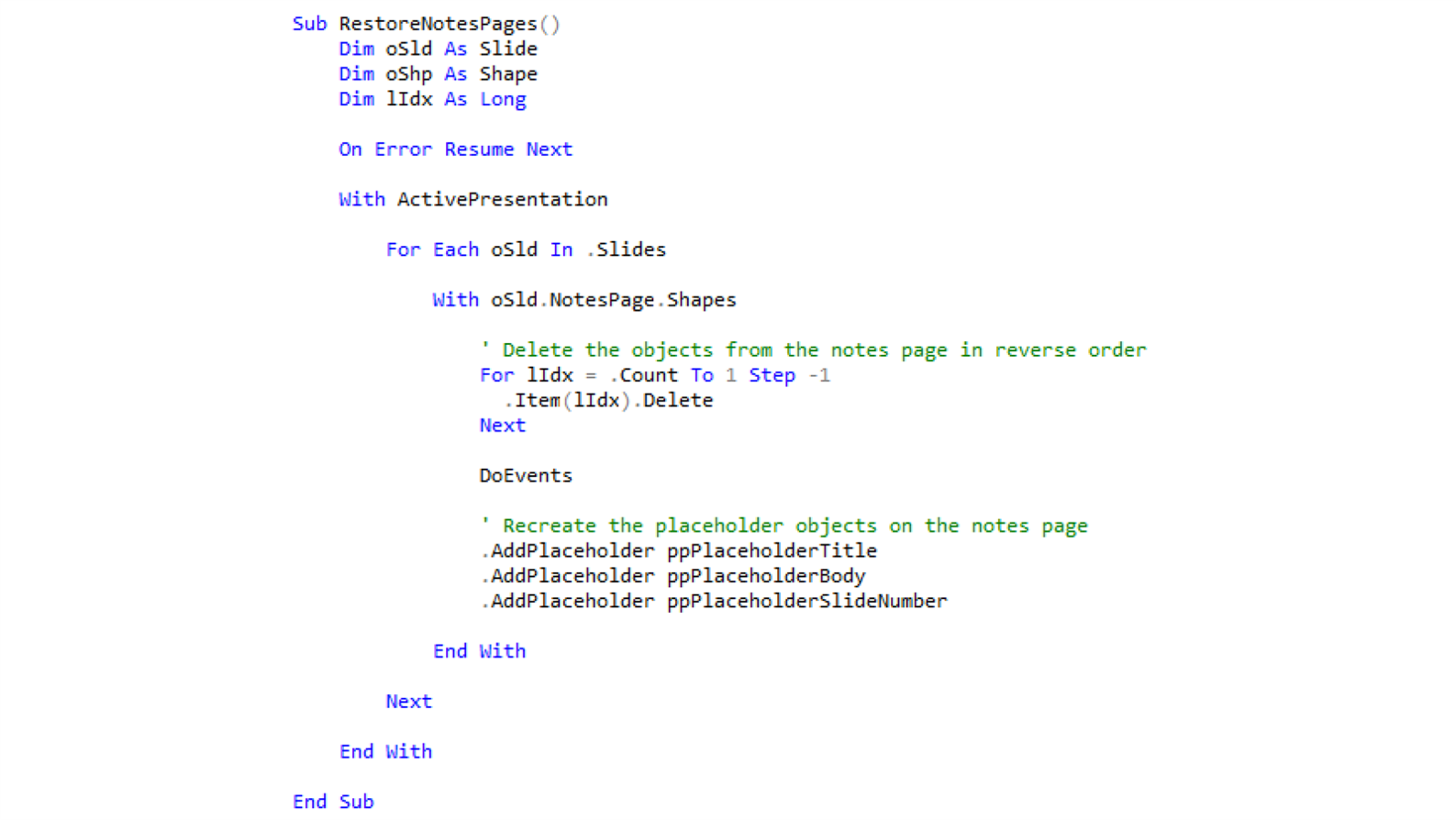 Screenshot of VBA