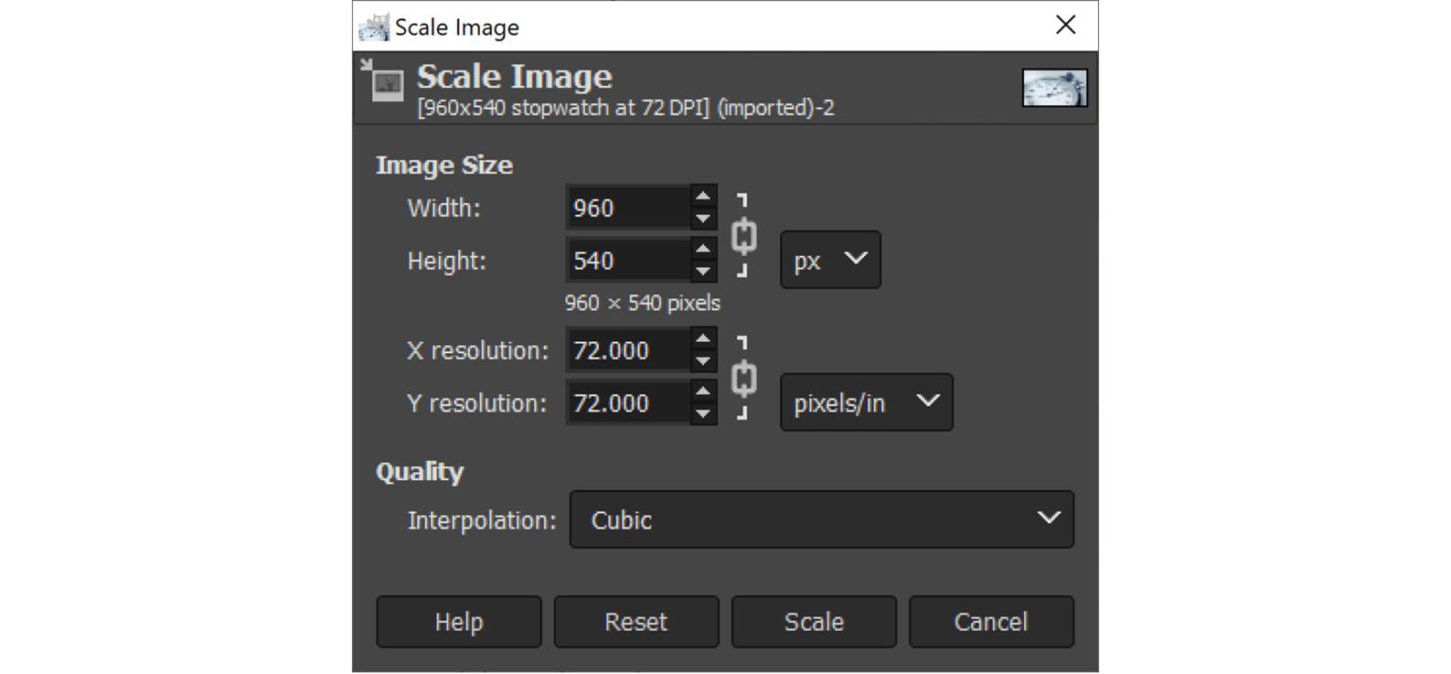 screenshot of GIMP scale settings