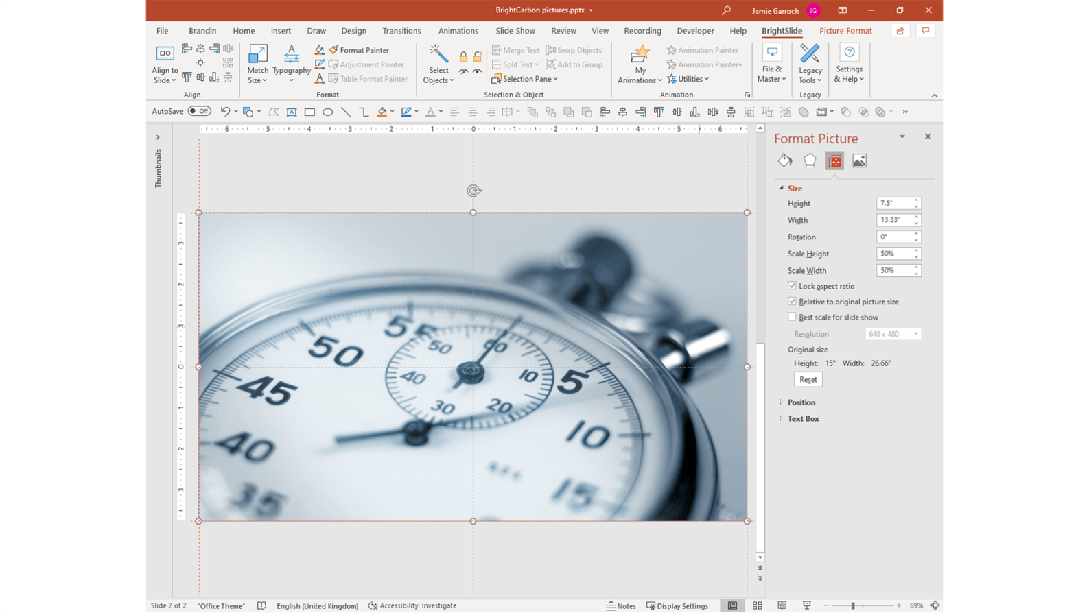 screenshot of HD1080p picture inserted into PowerPoint at 72dpi