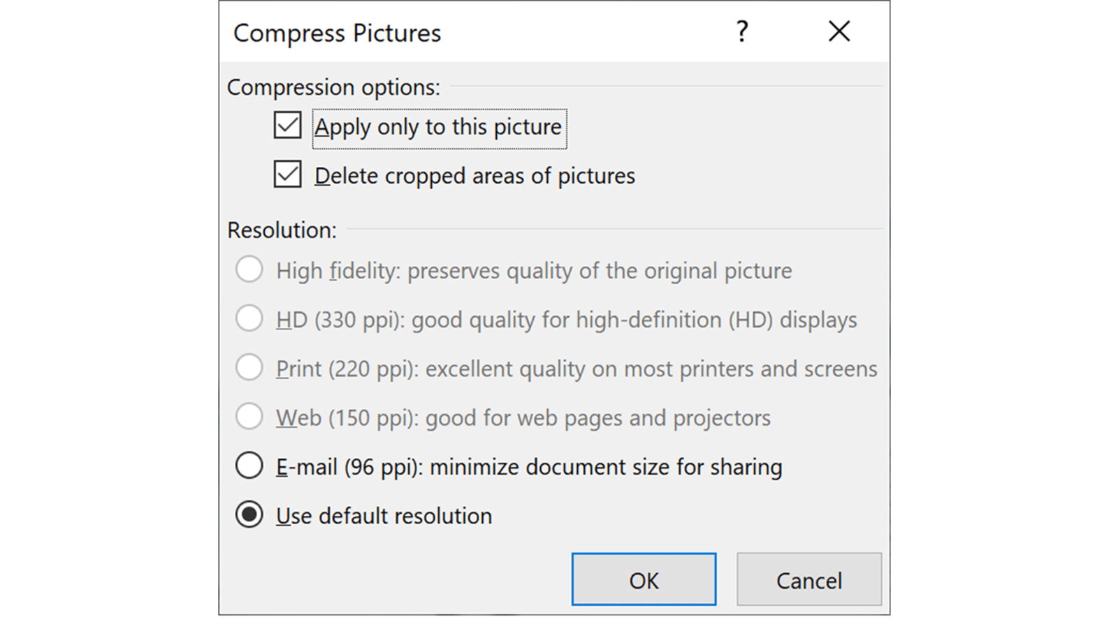 screenshot of PowerPoint Compress Pictures dialog