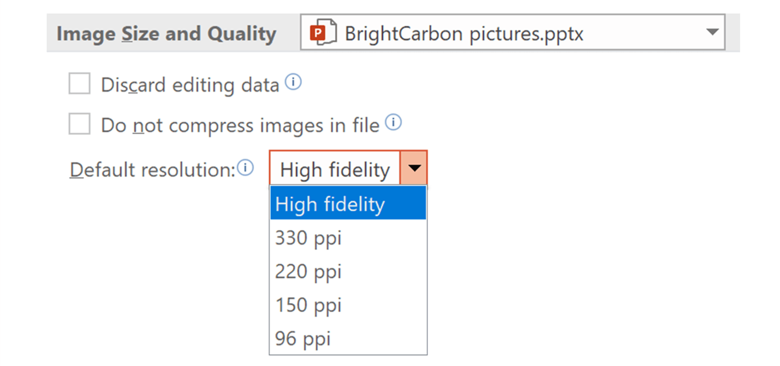 screenshot of PowerPoint default picture resolution