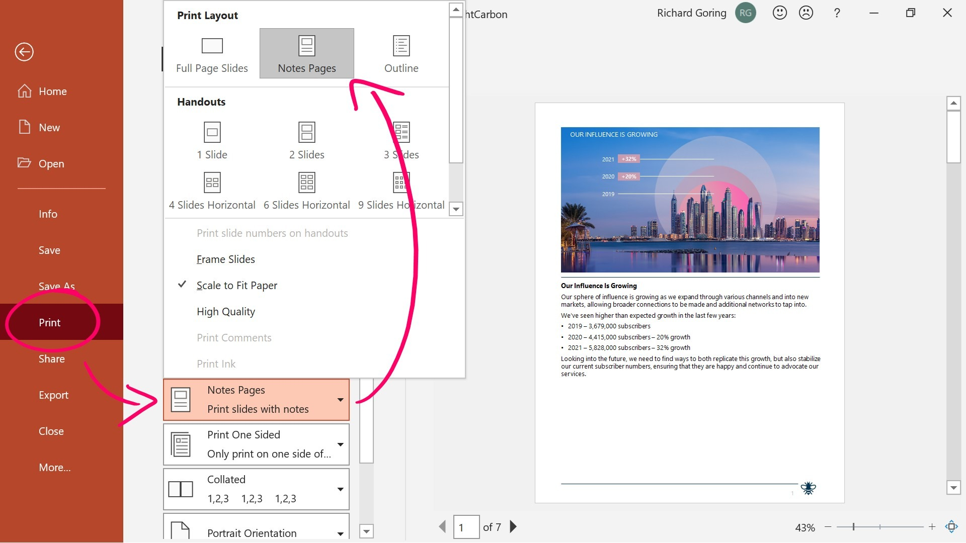 Screenshot of PowerPoint showing the Print Layout options. The screenshot is annotated with arrows pointing to the Notes Pages option.