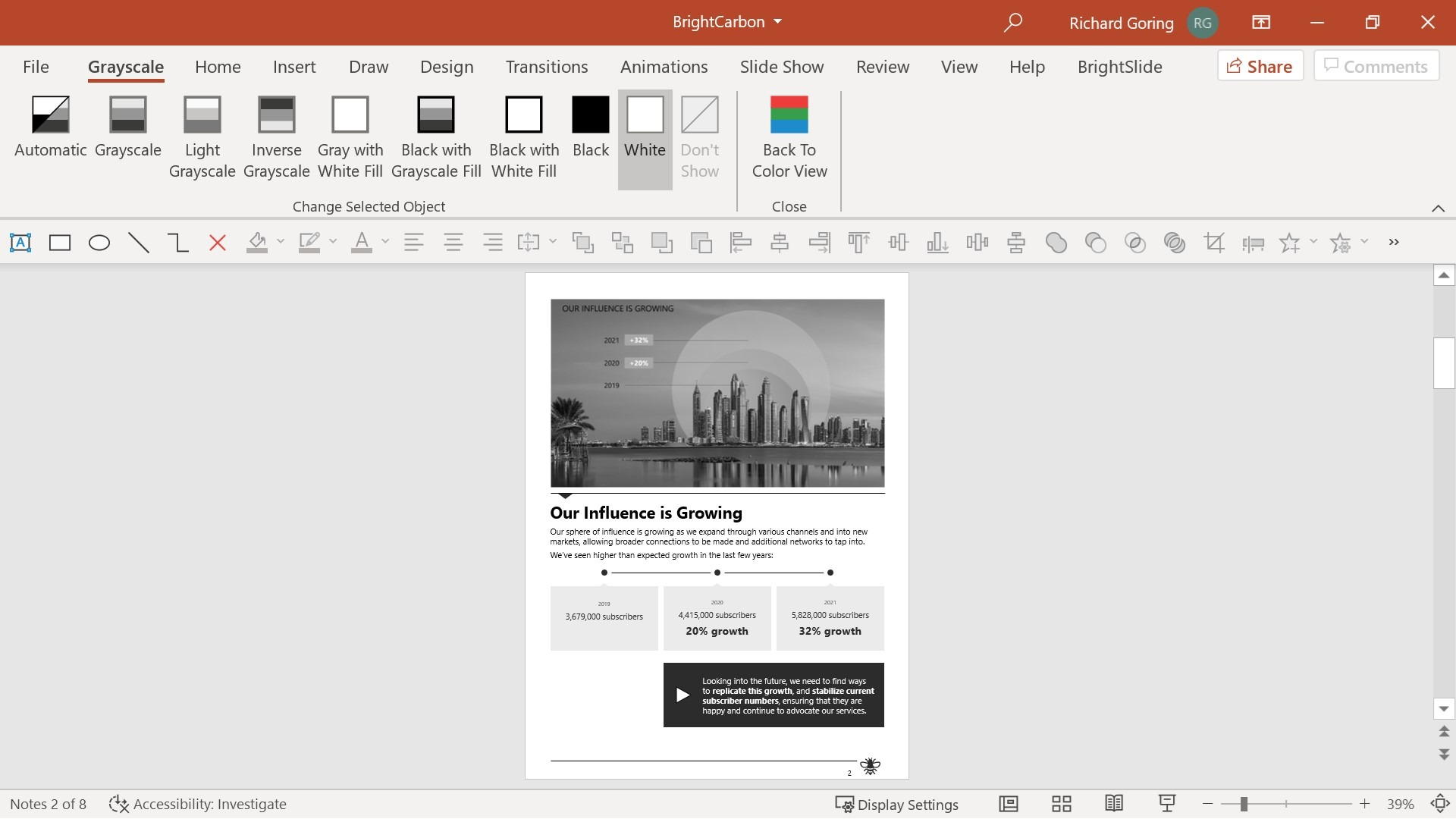 Screenshot of the notes page in earlier screenshots. The Grayscale tab is open and the notes page is in grayscale.