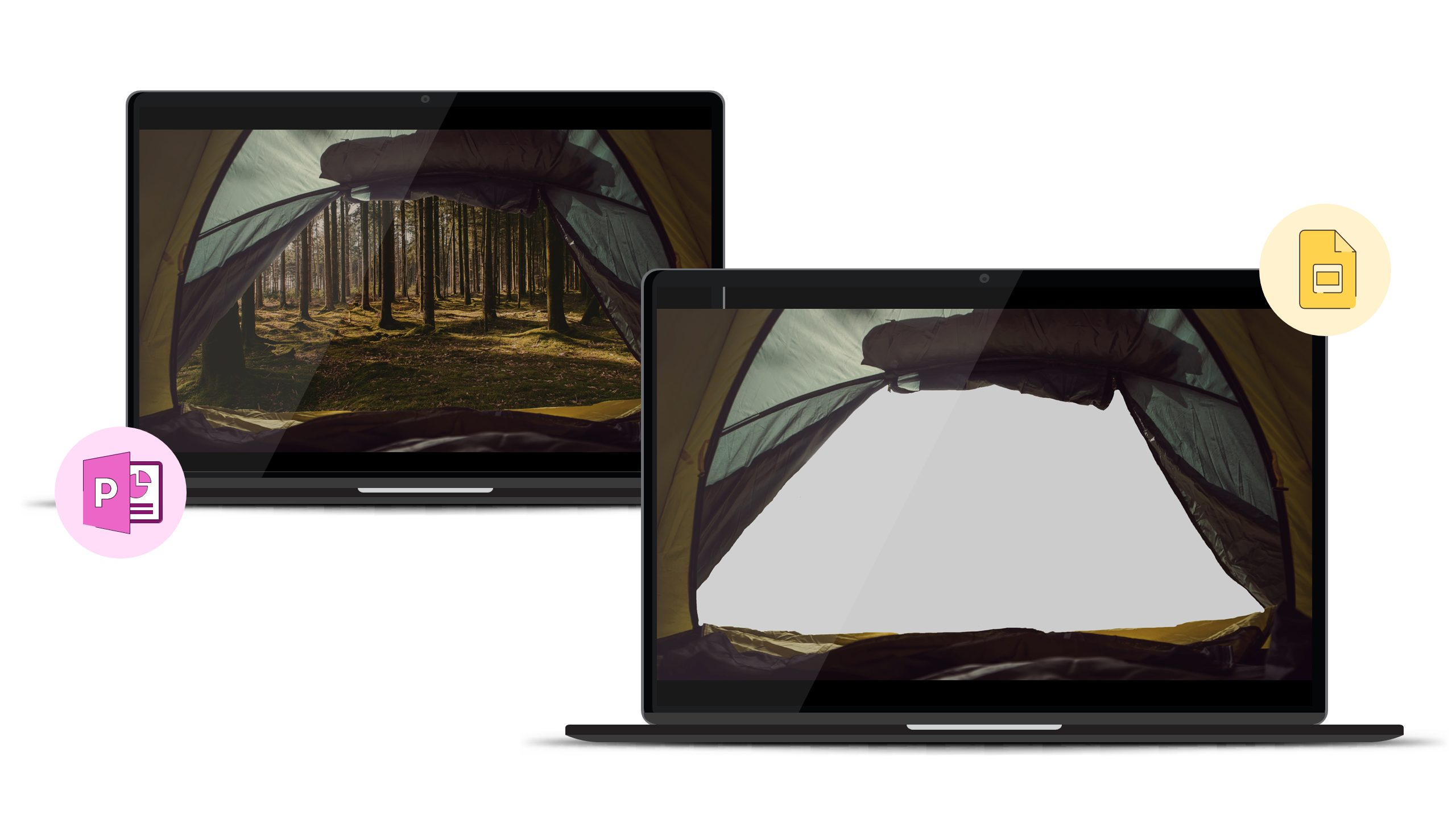 2 screenshots. The first shows a slide in PowerPoint with a composite image on. There is an image of a tent taken from the inside, the entrance has been cropped out and an image of a beautiful forest added in the gap. In the second screenshot, we can just see the image of the tent, with a blank space where the forest image should be.