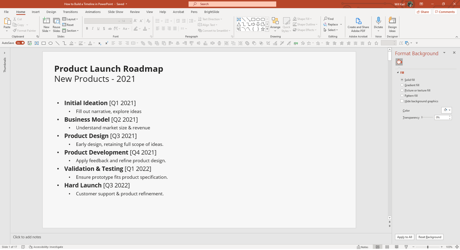 Screenshot of PowerPoint in edit mode showing a bulleted timeline with six events. Each event has a title in bold, date, and one line description.