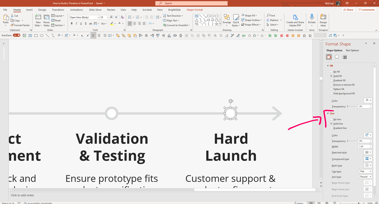 Annotated screenshot of previous PowerPoint slide, zoomed in to the line with small circled placed on the line above each event heading. One circle is selected, the Format Shape pane is open and Solid line option is highlighted.