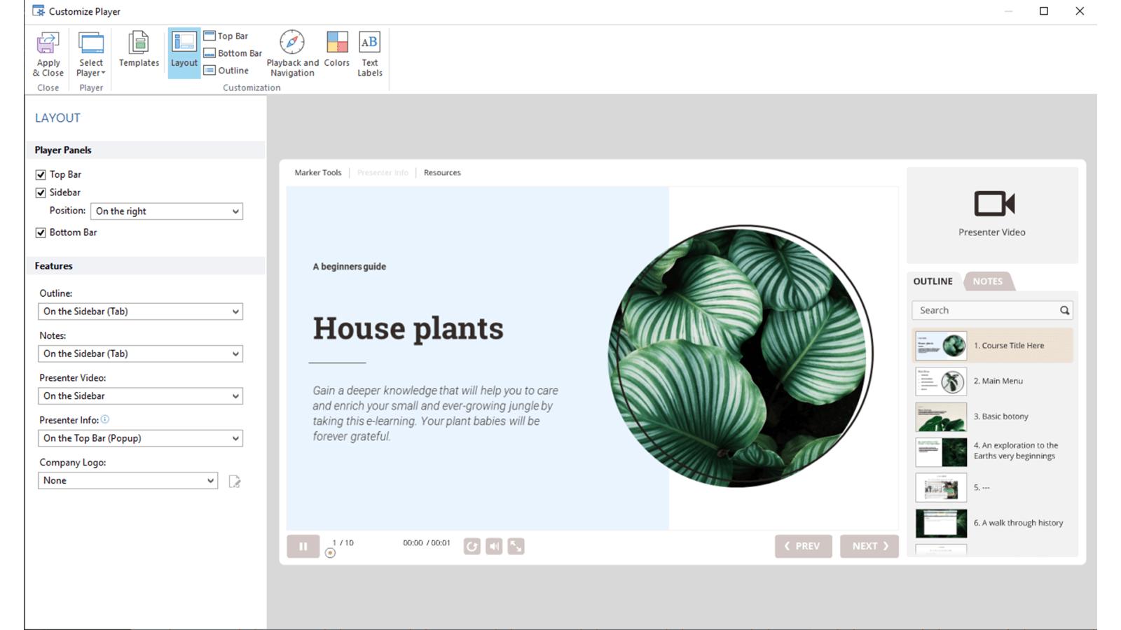 Screenshot of iSprings Customize Player window