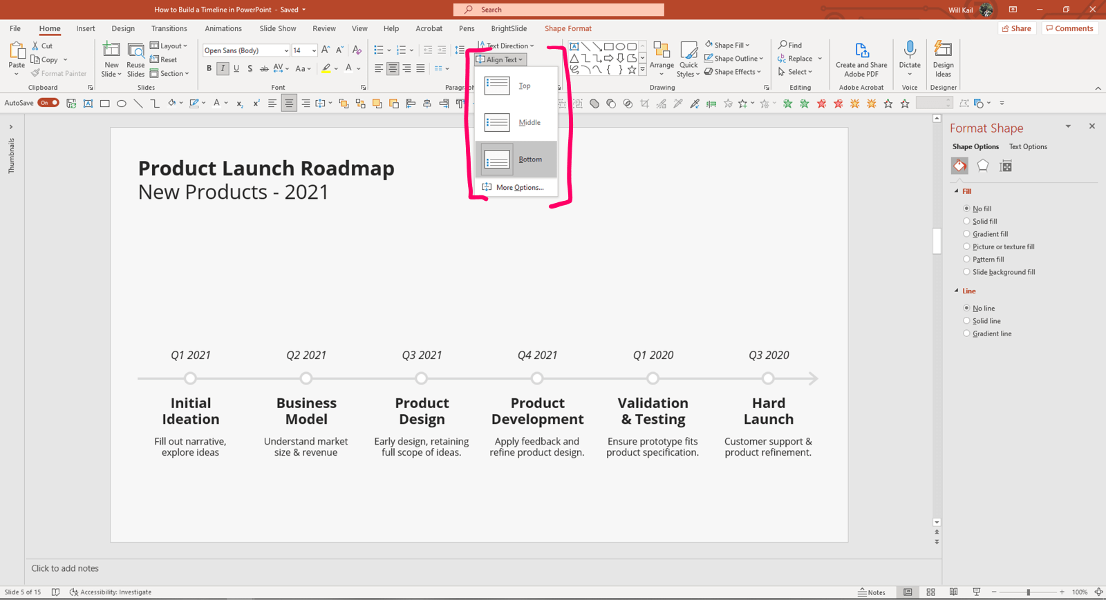 """Annotated screenshot of PowerPoint with Home tab open and the Align Text drop down menu open. The """"Bottom"""" option is highlighted."""