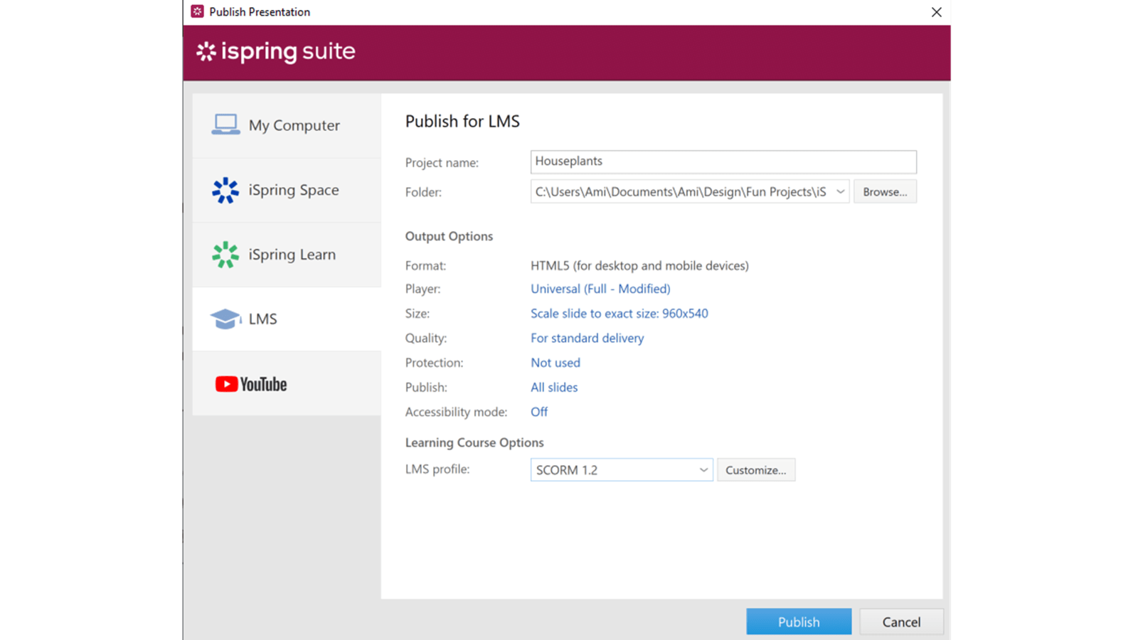 Screenshot of iSprings Publish Presentation window