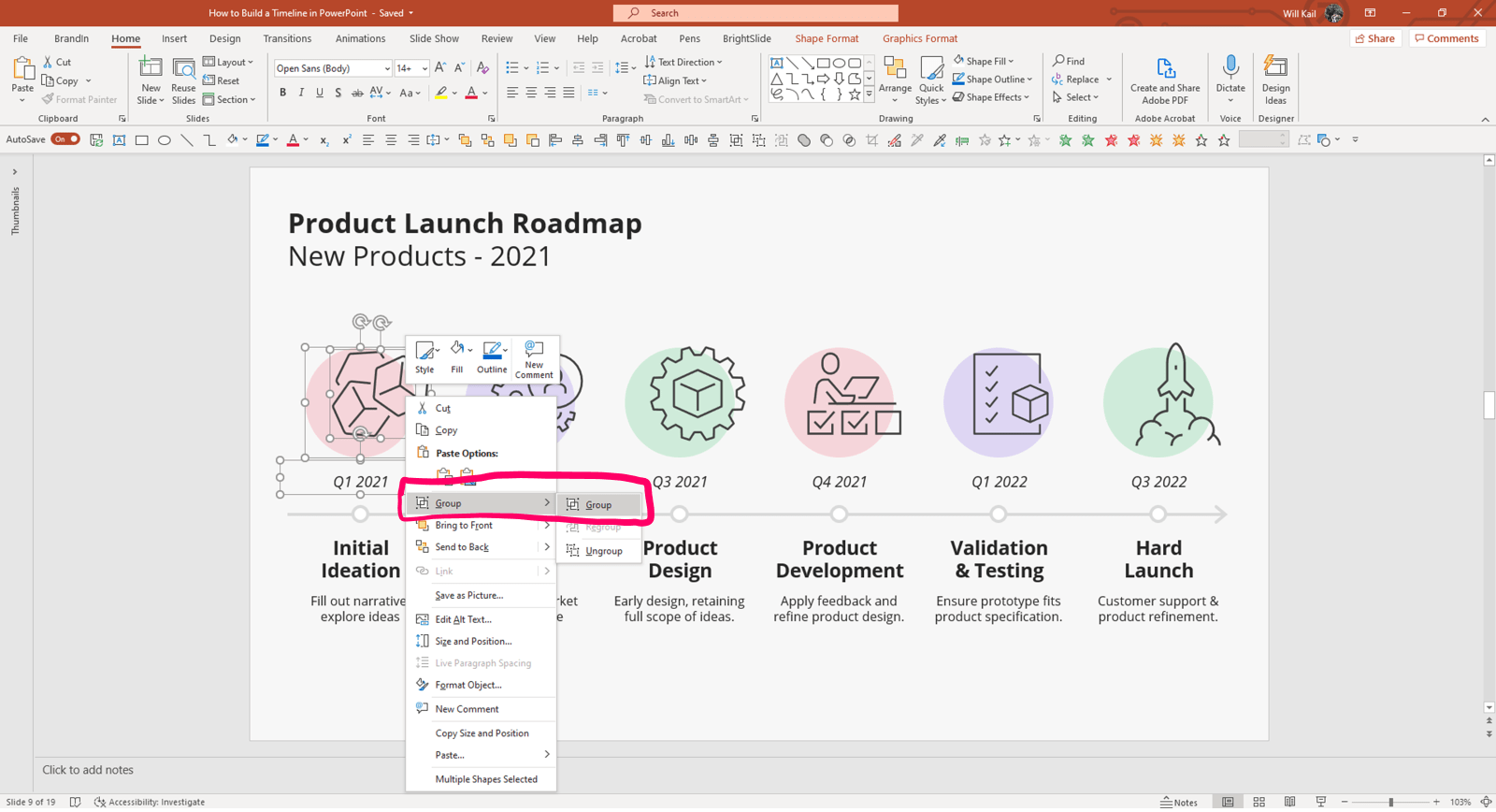 """Annotated screenshot of PowerPoint timeline in edit mode. The shape, icon and text box of the first event are selected and the right click menu is open. The """"Group"""" option is highlighted."""