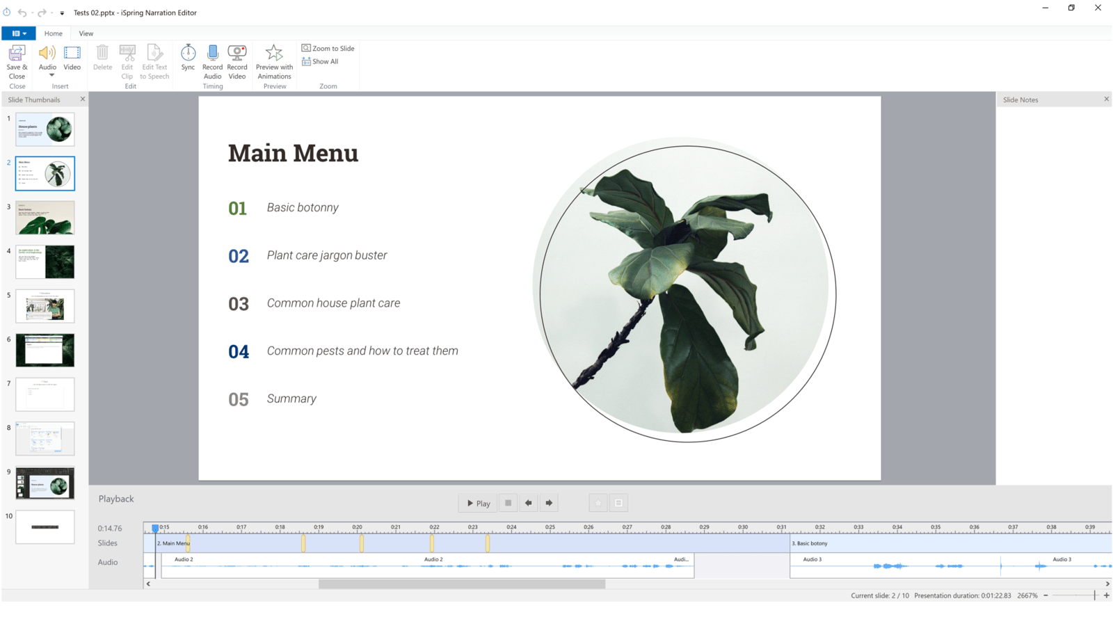 Screenshot of iSpring showing the audio and animation timeline