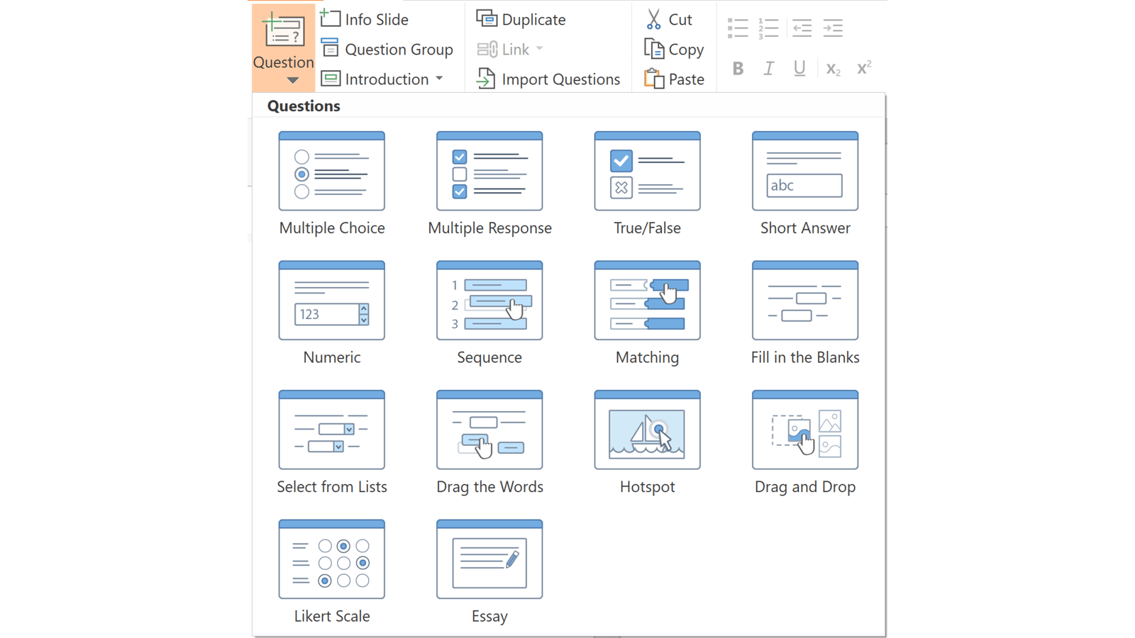 Screenshot of iSprings question menu