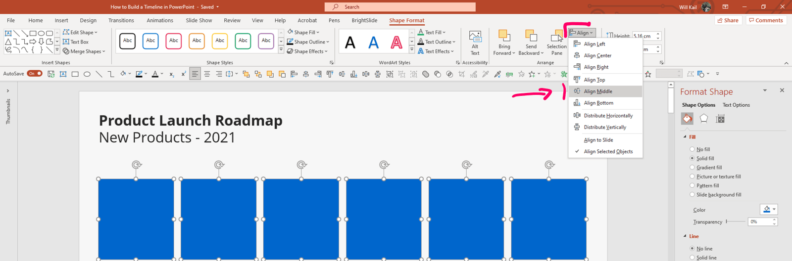Annotated screenshot of PowerPoint Shape Format tab with the alignment options circled.