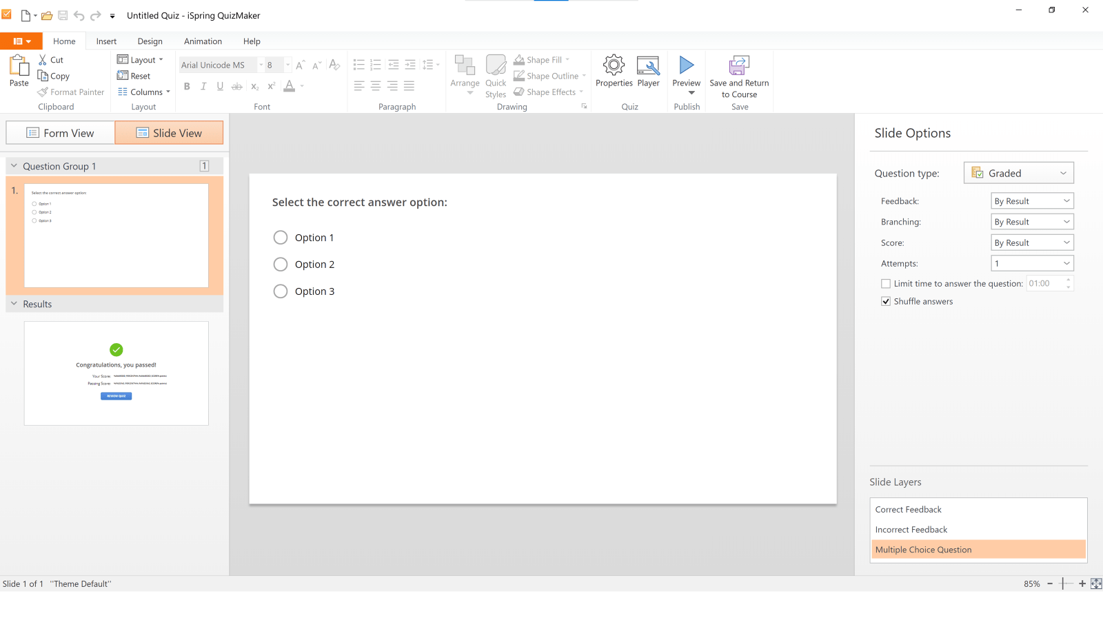 Screenshot of iSpring QuizMaster in Slide View with multiple choice question