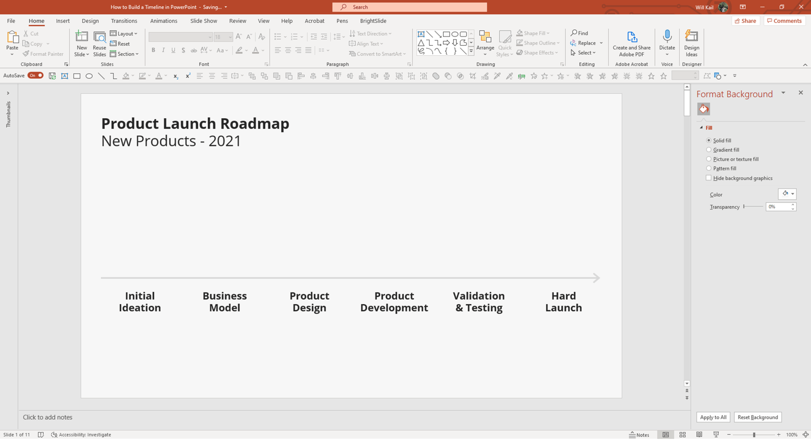 Screenshot of PowerPoint in edit mode showing a slide with the timeline event titles even spread out along a line.
