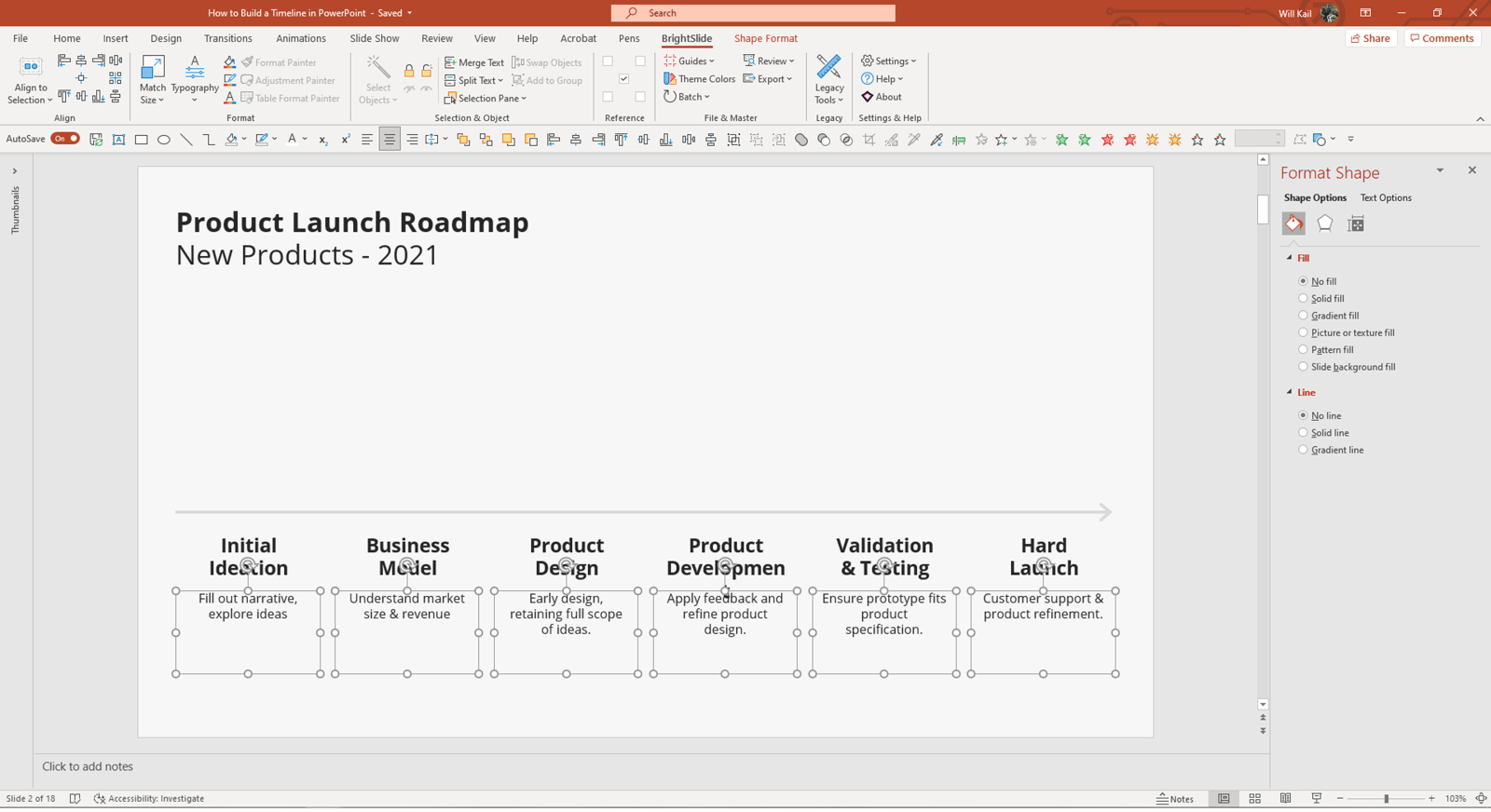 Screenshot of PowerPoint in edit mode, showing the same slide a previously, with an additional text box underneath each event heading.
