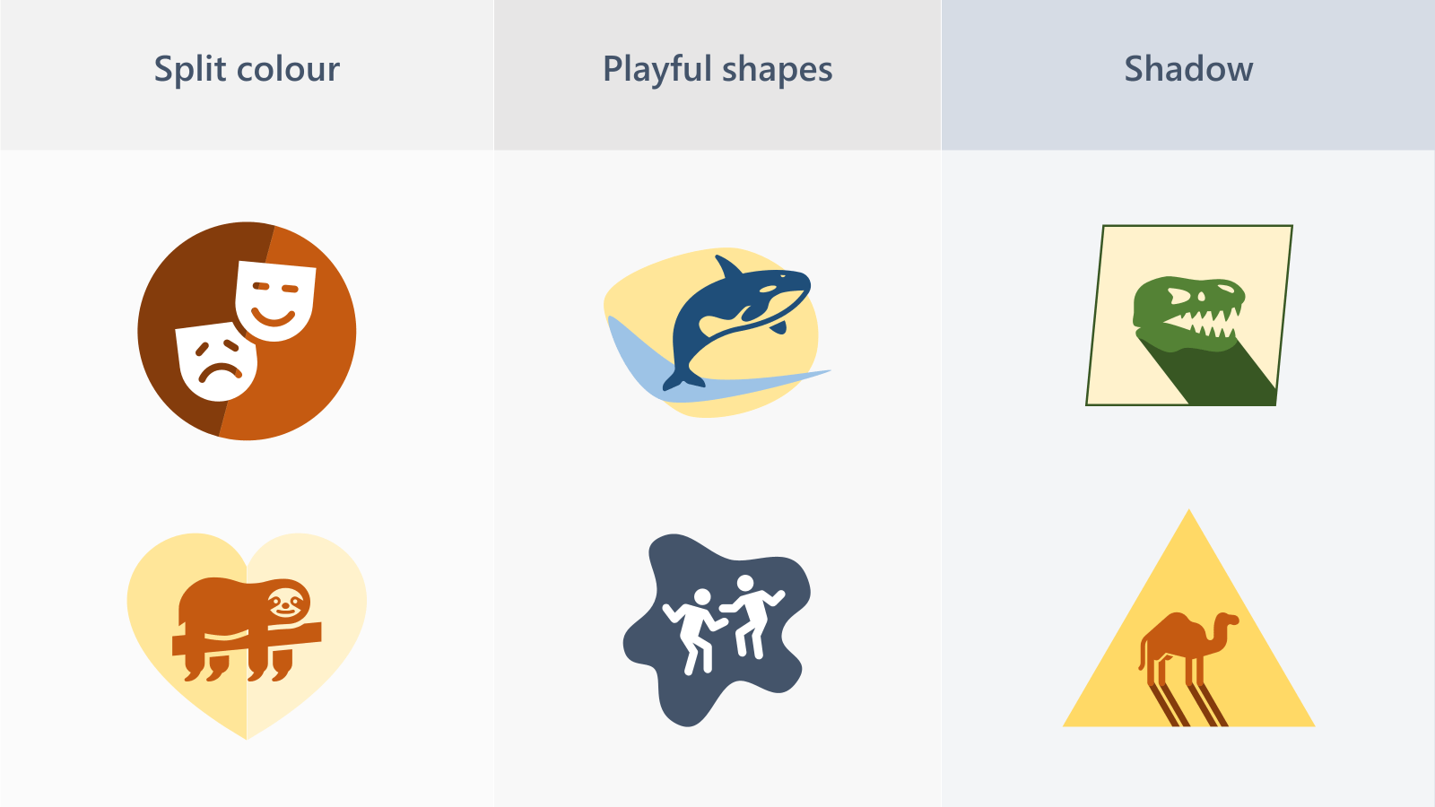 Examples of 3 types of icon style: split colour, playful shapes, shadow.