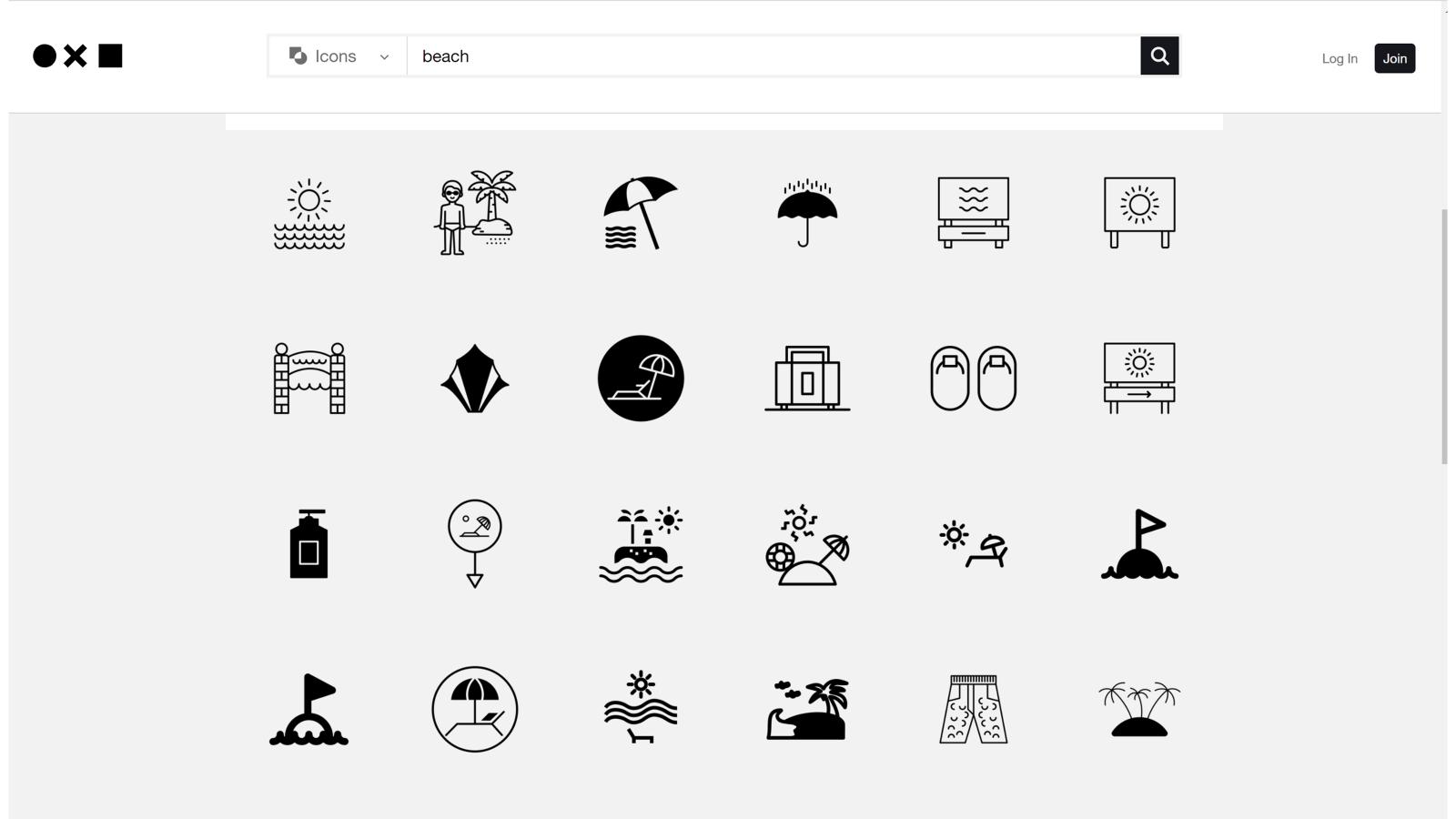 screenshot of the noun project website