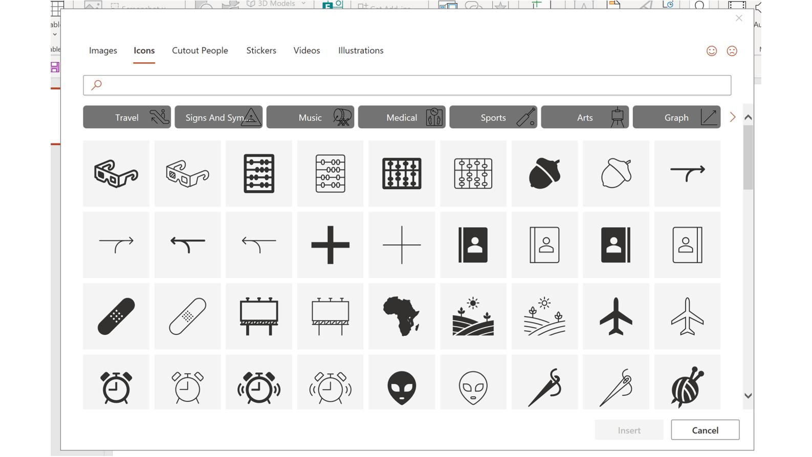 Screenshot of PowerPoint's insert icons pop up window