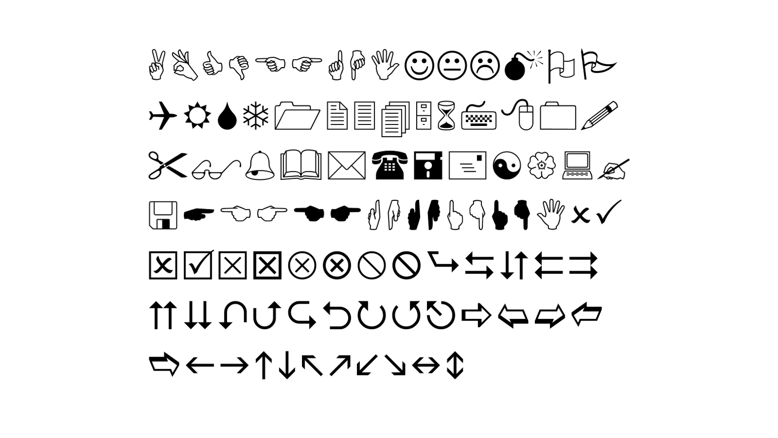Varied symbols including pointing hands, thumbs up, arrows, phone, floppy disk, scissors, flag, flower, bell and more.