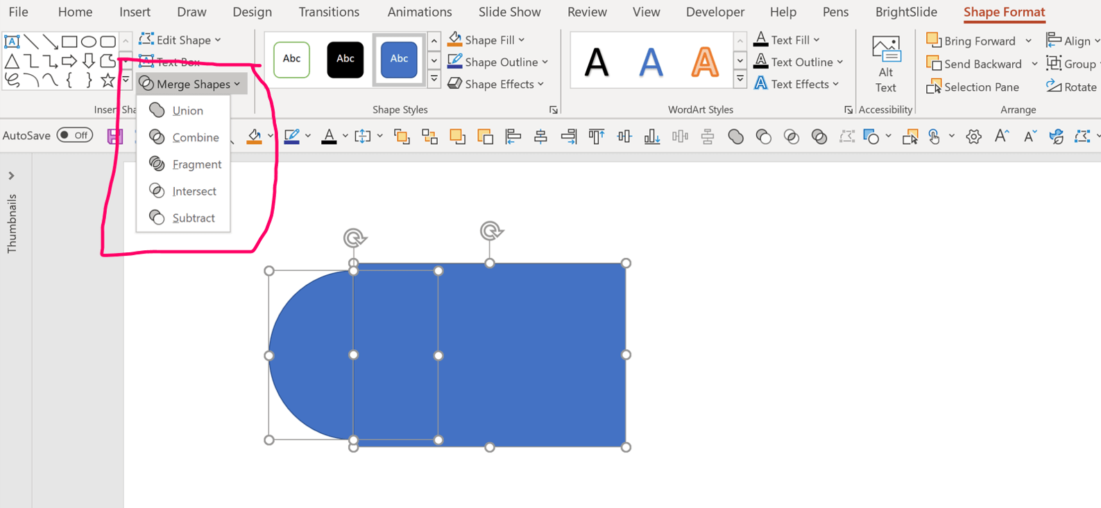 PowerPoint screenshot showing the Merge shapes tools