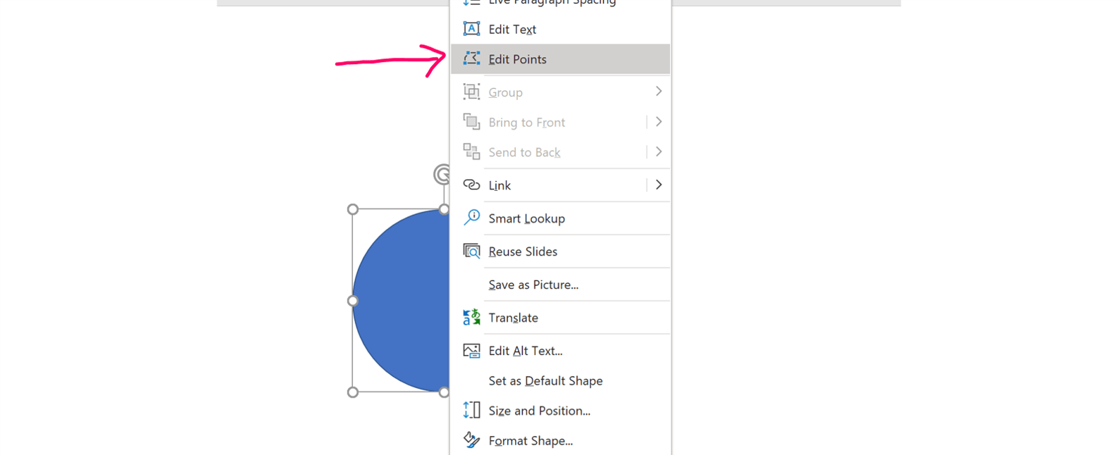 Screenshot of the right-click menu in PowerPoint showing where the Edit Points tool is located