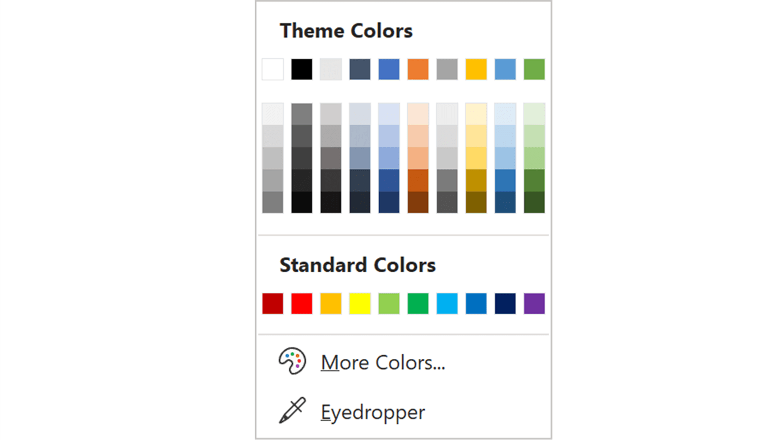 Screenshot of the Theme Colors panel in PowerPoint