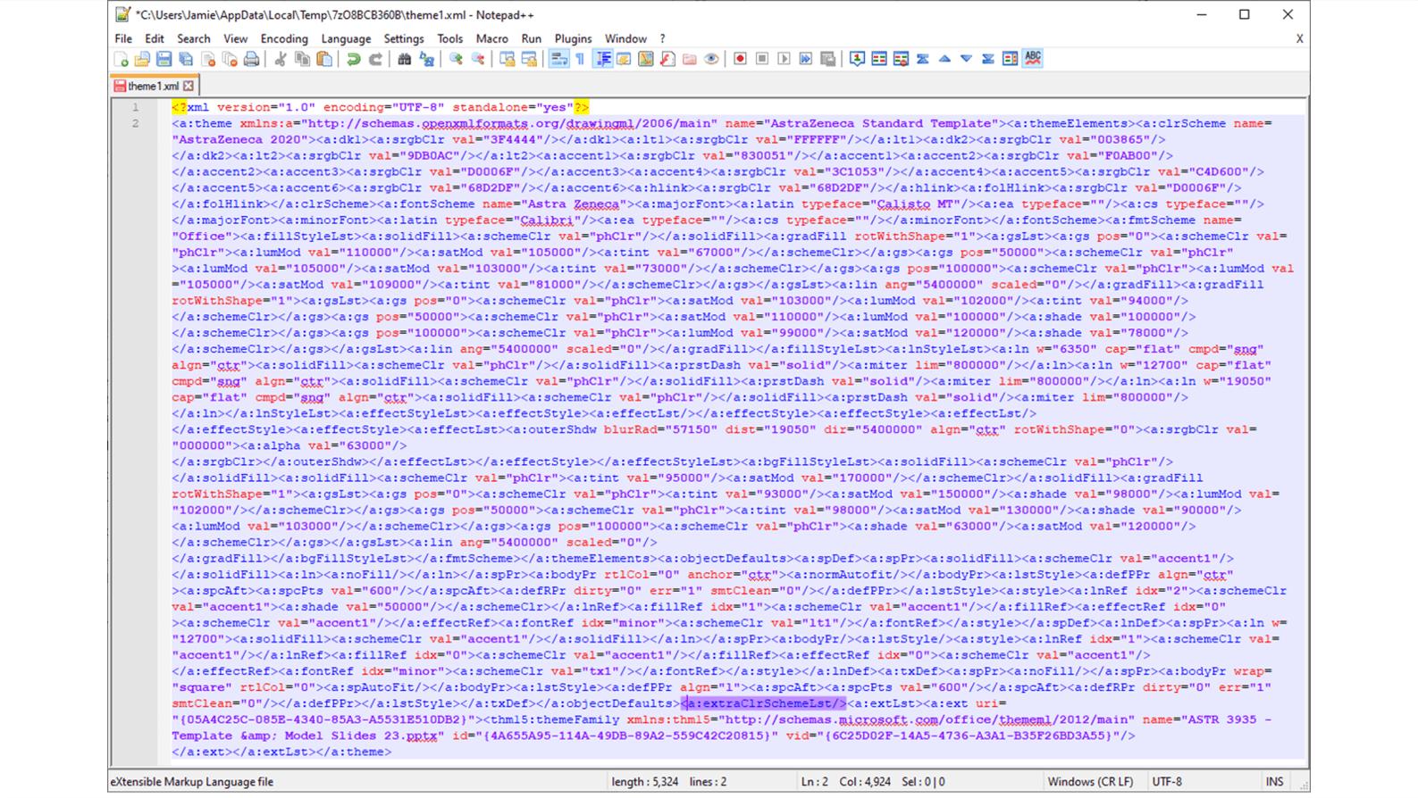 Screenshot of XML