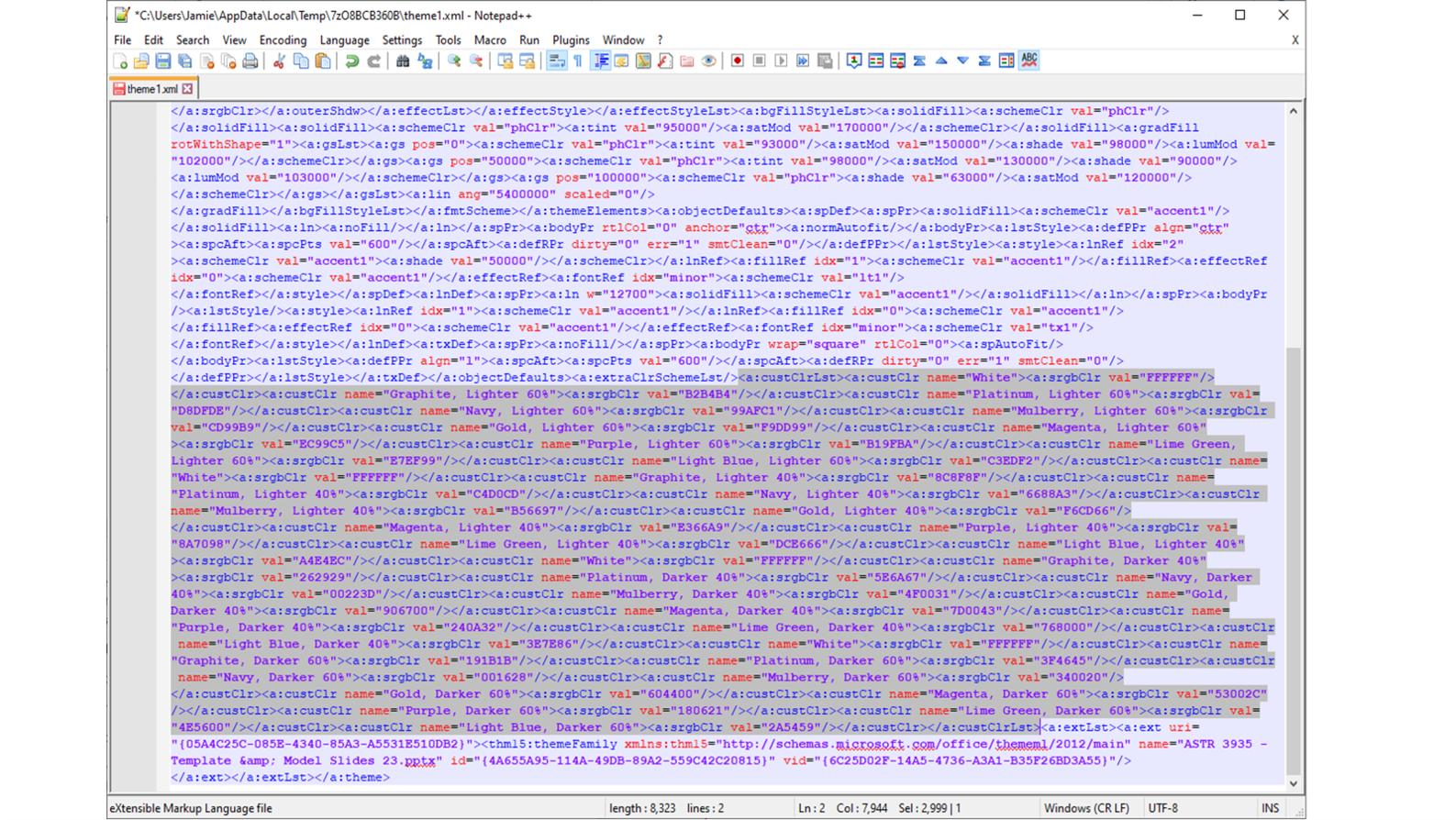 Screenshot of XML with a large highlighted section.