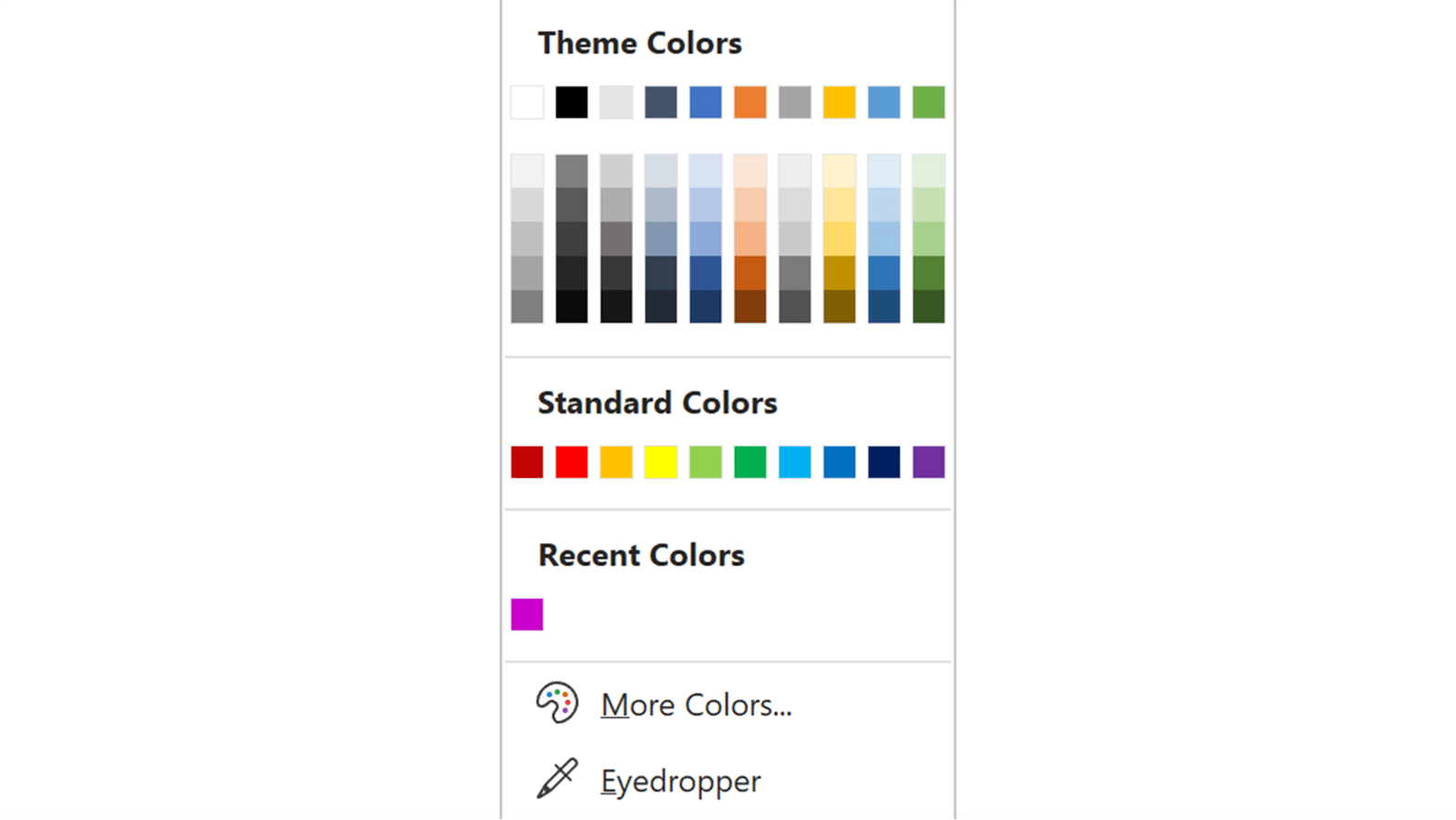 Screenshot of the Theme Colors panel in PowerPoint showing the Recent Colors section