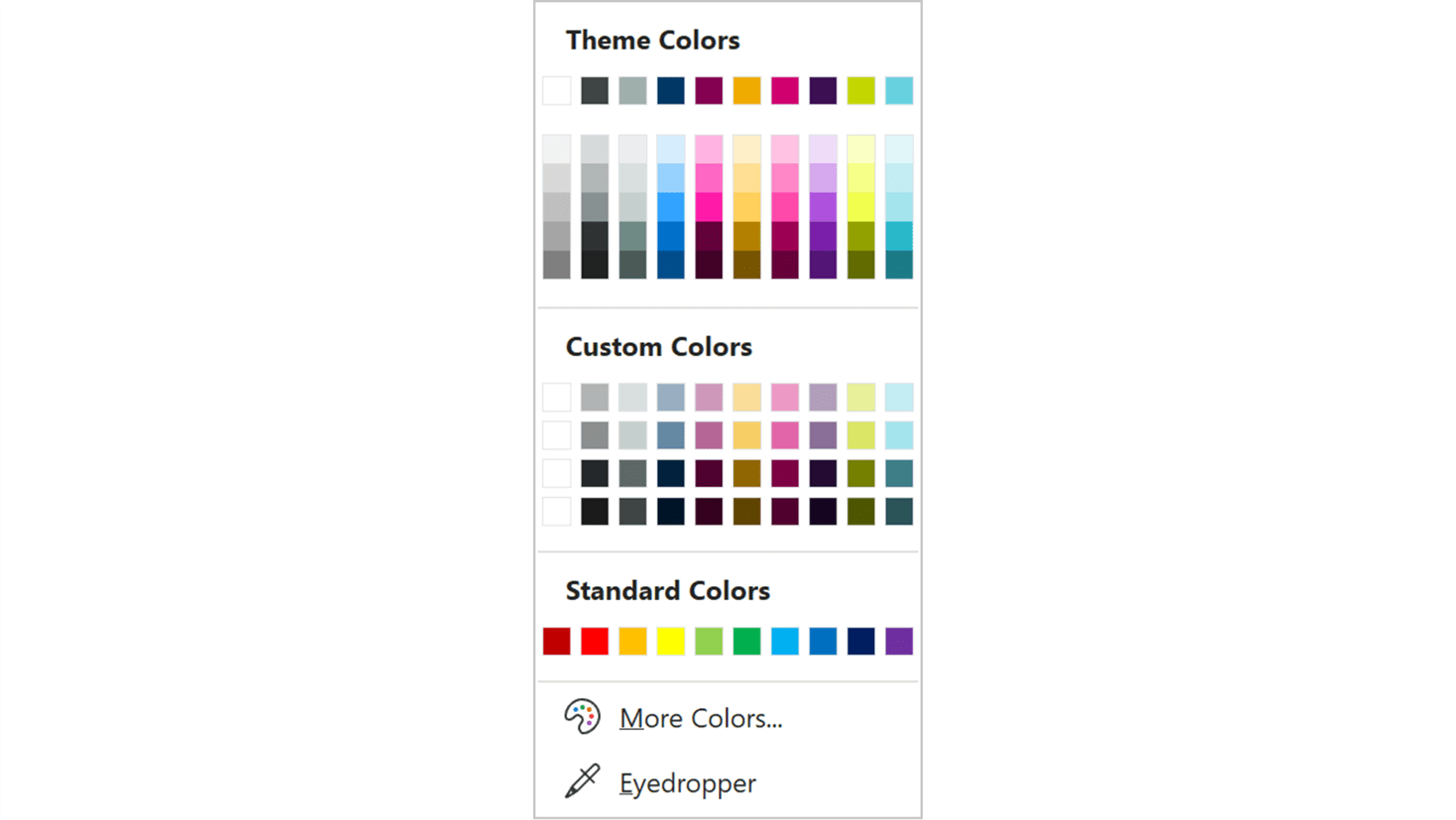Screenshot of the Theme Colors panel in PowerPoint showing the BrightCarbon Custom Colors section.
