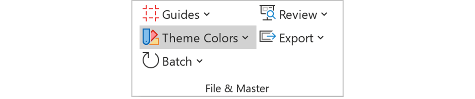 Screenshot of Theme colors feature in the BrightSlide tab