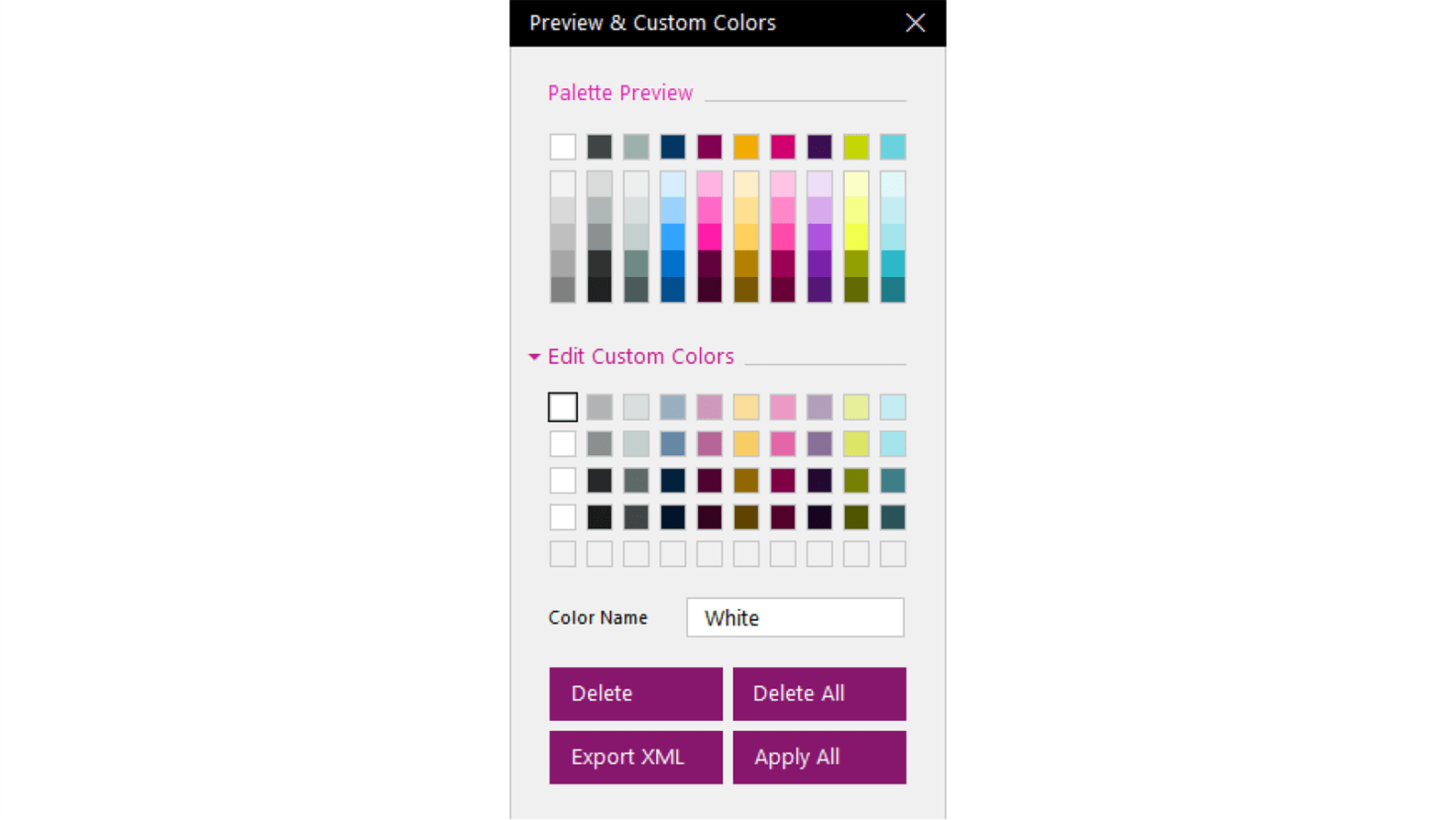 Screenshot of Preview & Custom Colors pop-up with completed custom colors panel.
