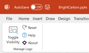 screenshot of logo toggle add-in for PowerPoint