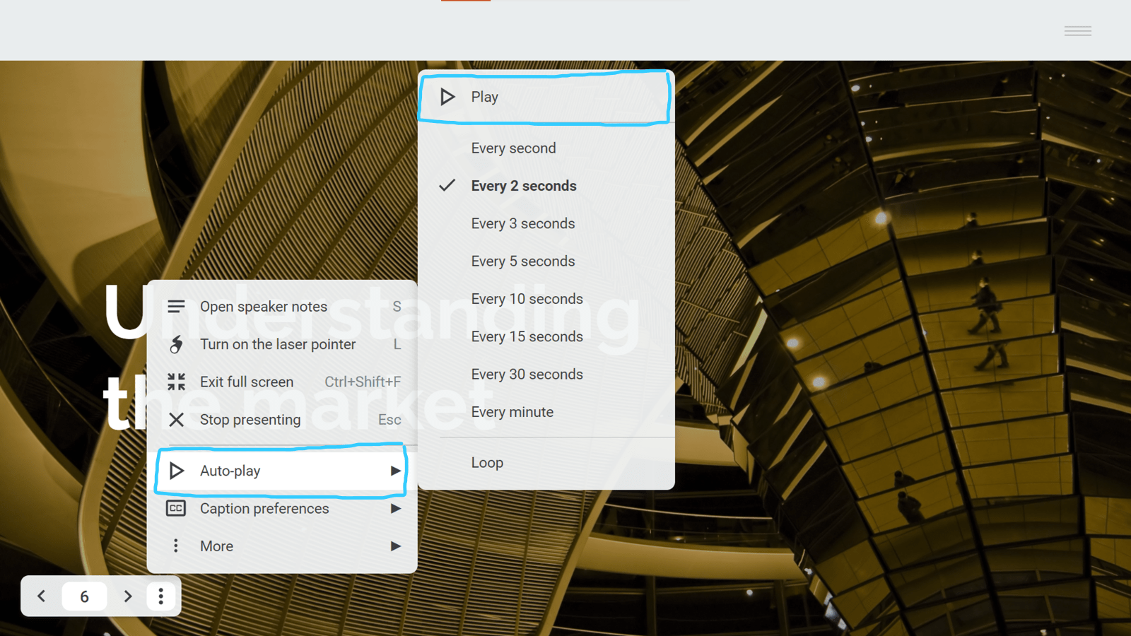 Screenshot of the present mode toolbar options with Autoplay options selected